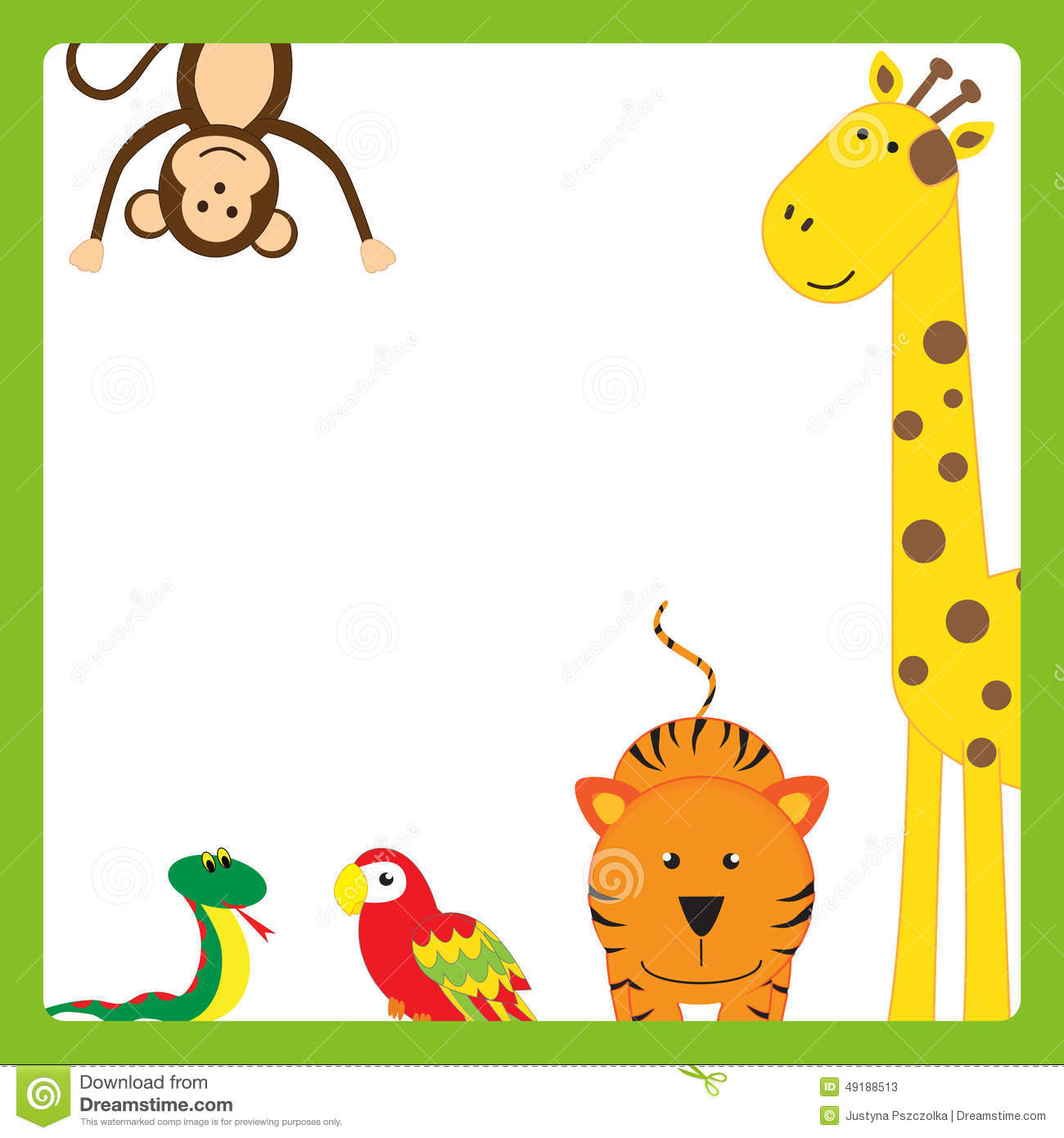 Stock Illustration Animal Frame Cute Abstract Cheerful Tropical Animals Image49188513 on Green Border