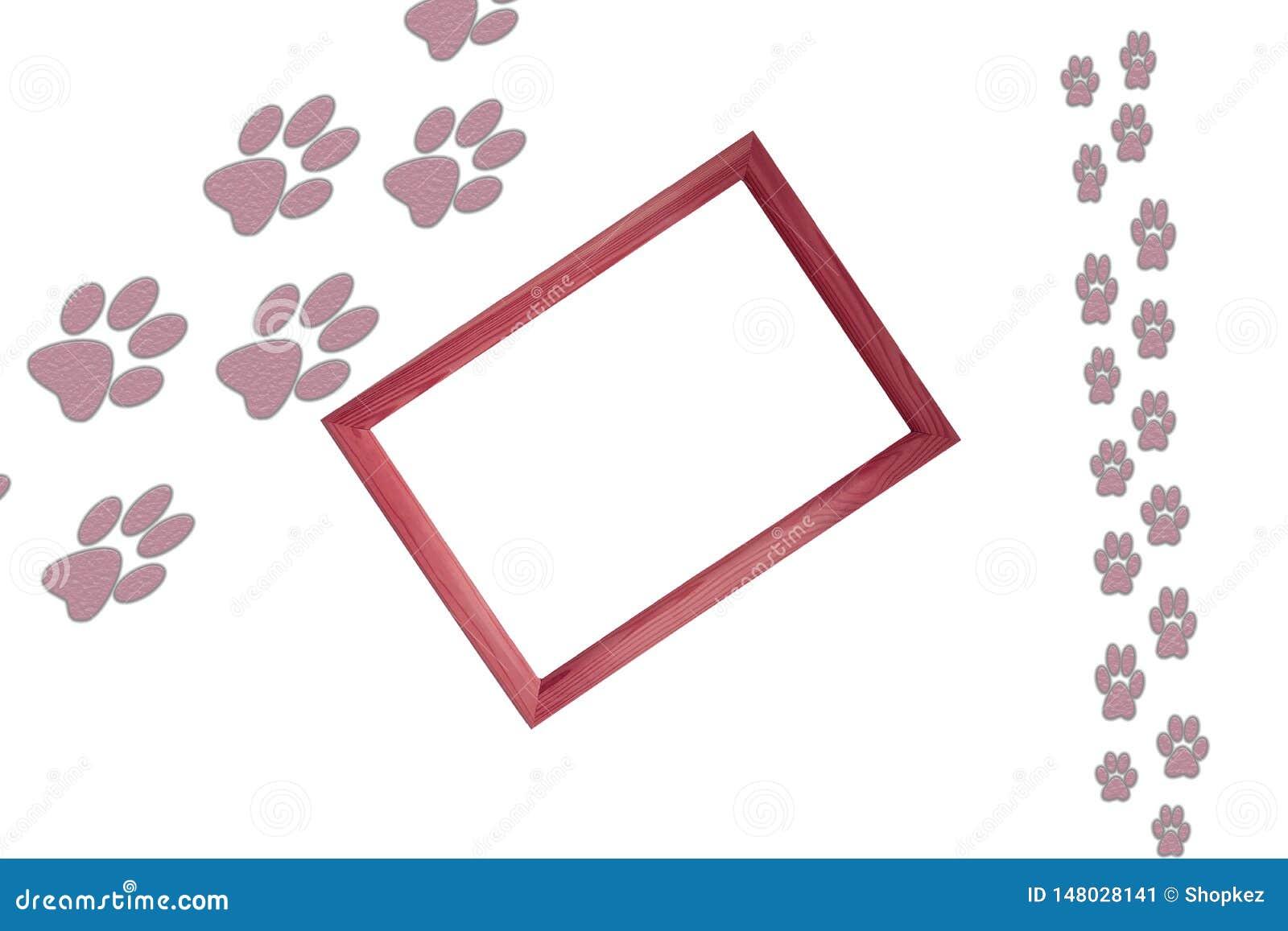 Animal grande y pequeñas impresiones del pie animal en el fondo blanco con el marco de madera en el centro de la imagen y de la c