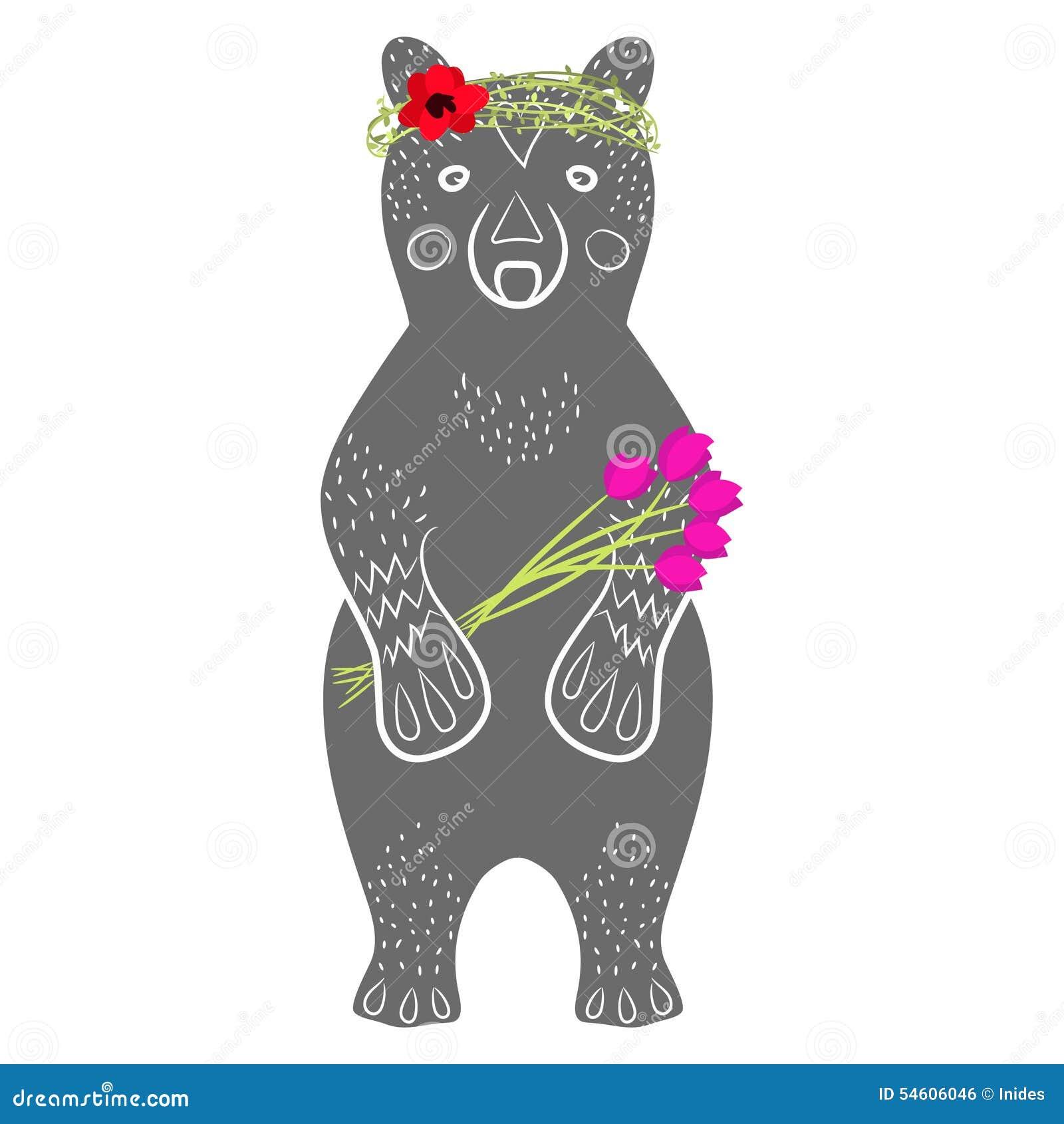 Animal gris debout de bande dessinée d ours avec des fleurs