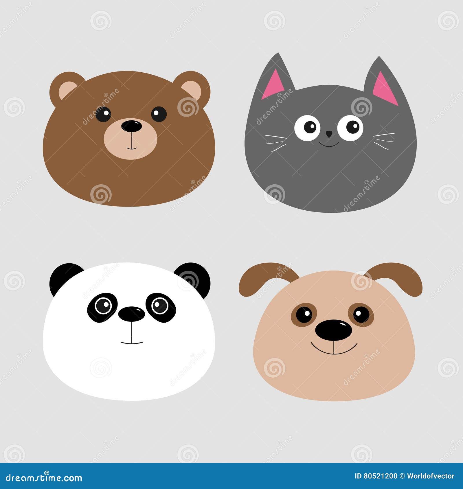 Animal Head Set Cartoon Kawaii Baby Bear Cat Dog Panda