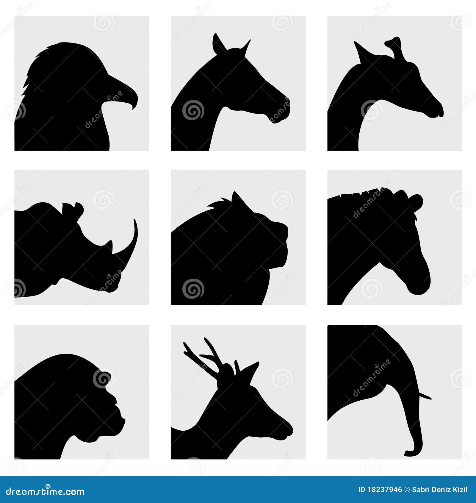 Farm animal head silhouettes - photo#5