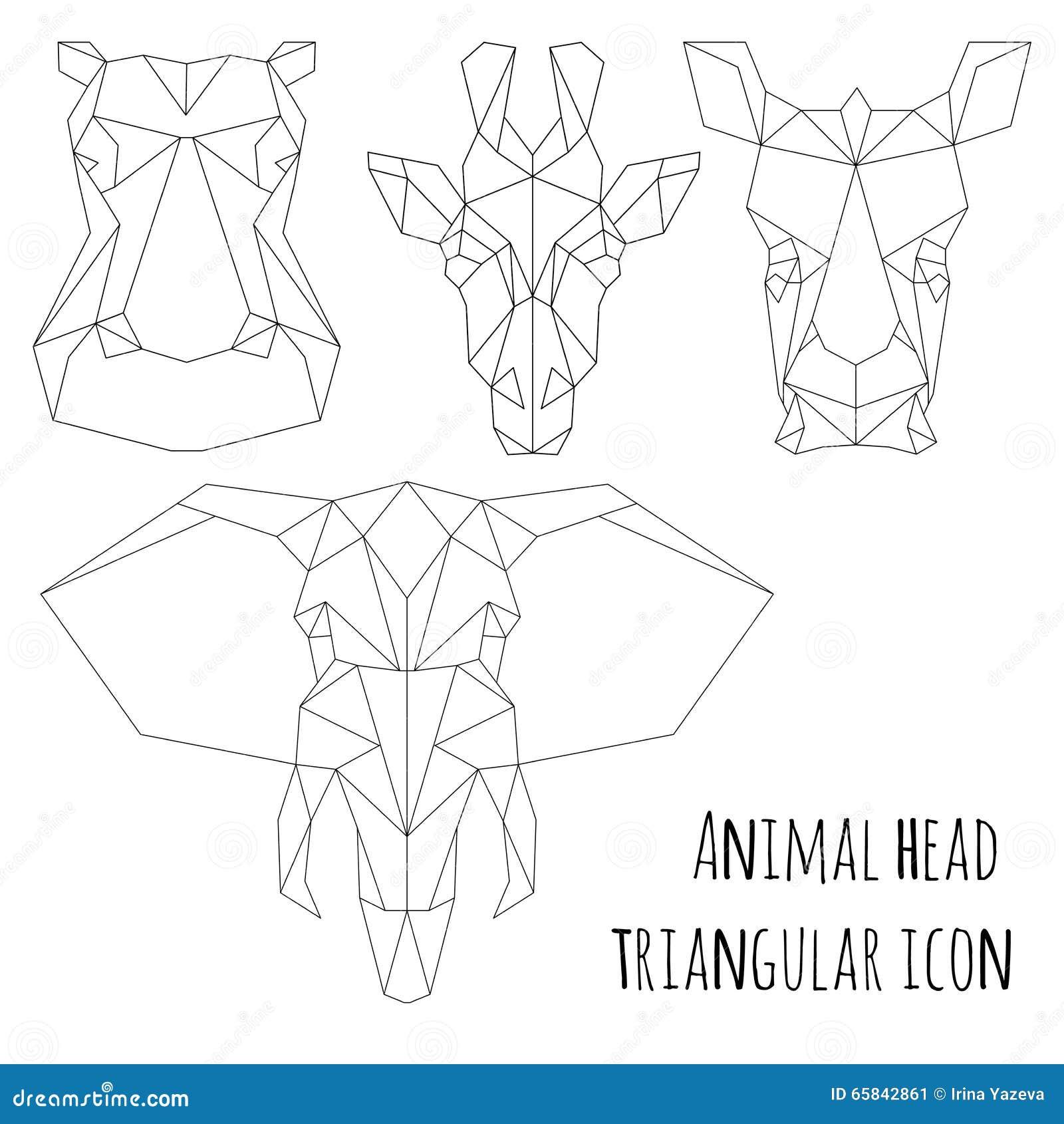 Animal Head Triangular Icon-geometric Line Design Stock ...