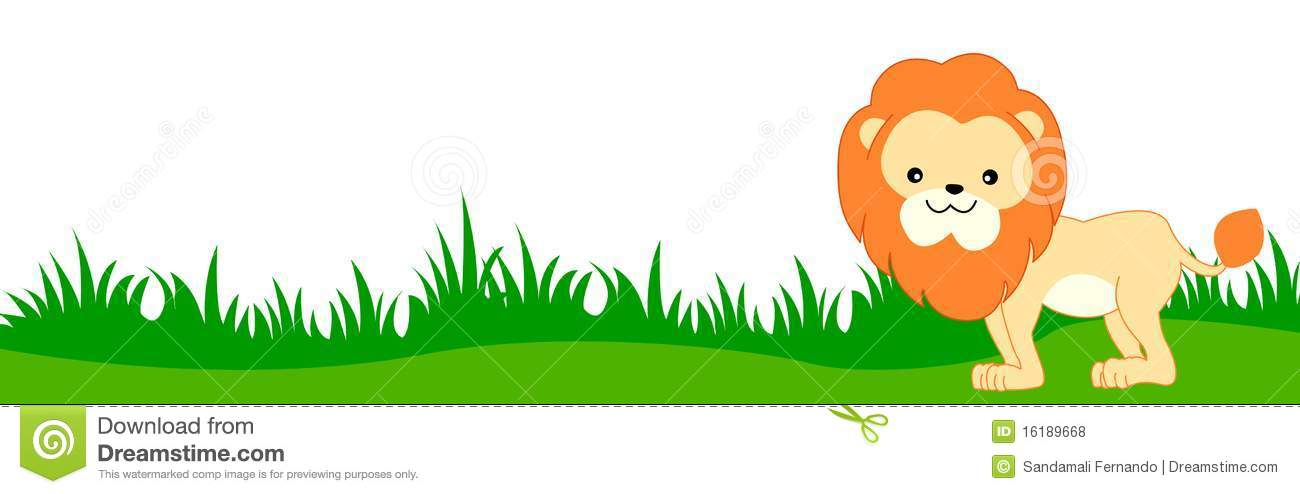 Cute lion on green grass web page border / header / footer isolated on ...