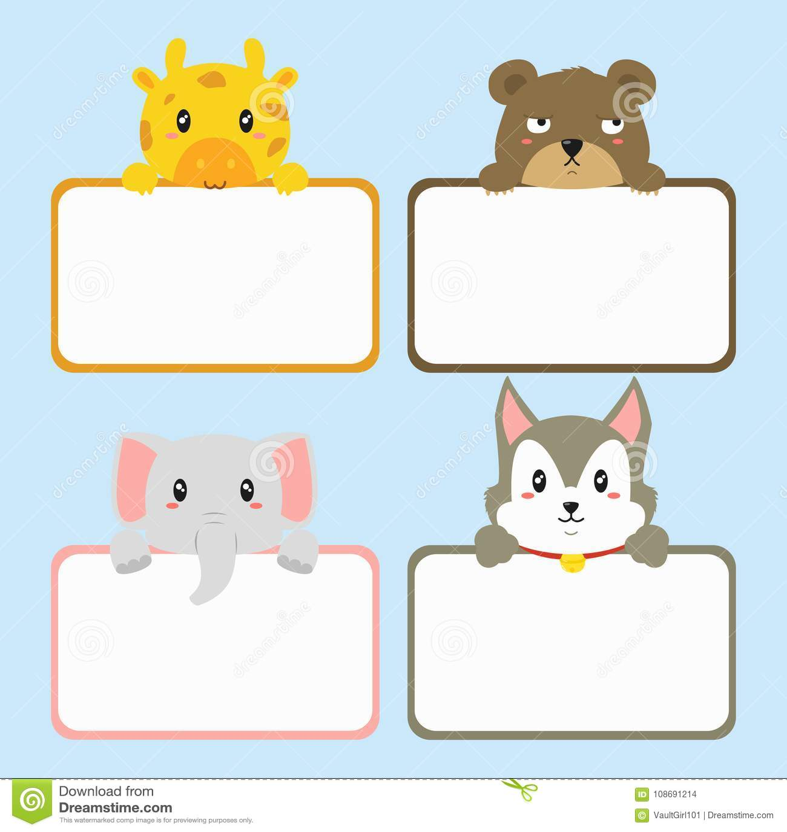Animal Holding Empty Banner Template Cute Animal Banner Set Cartoon