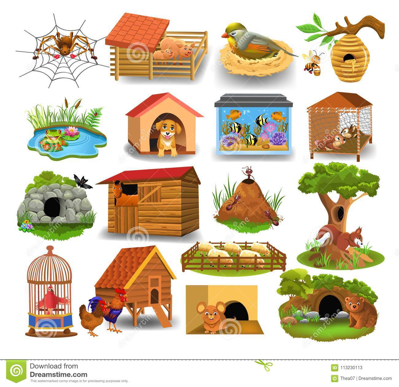Animal Homes Isolated On A White Background Stock Vector ...