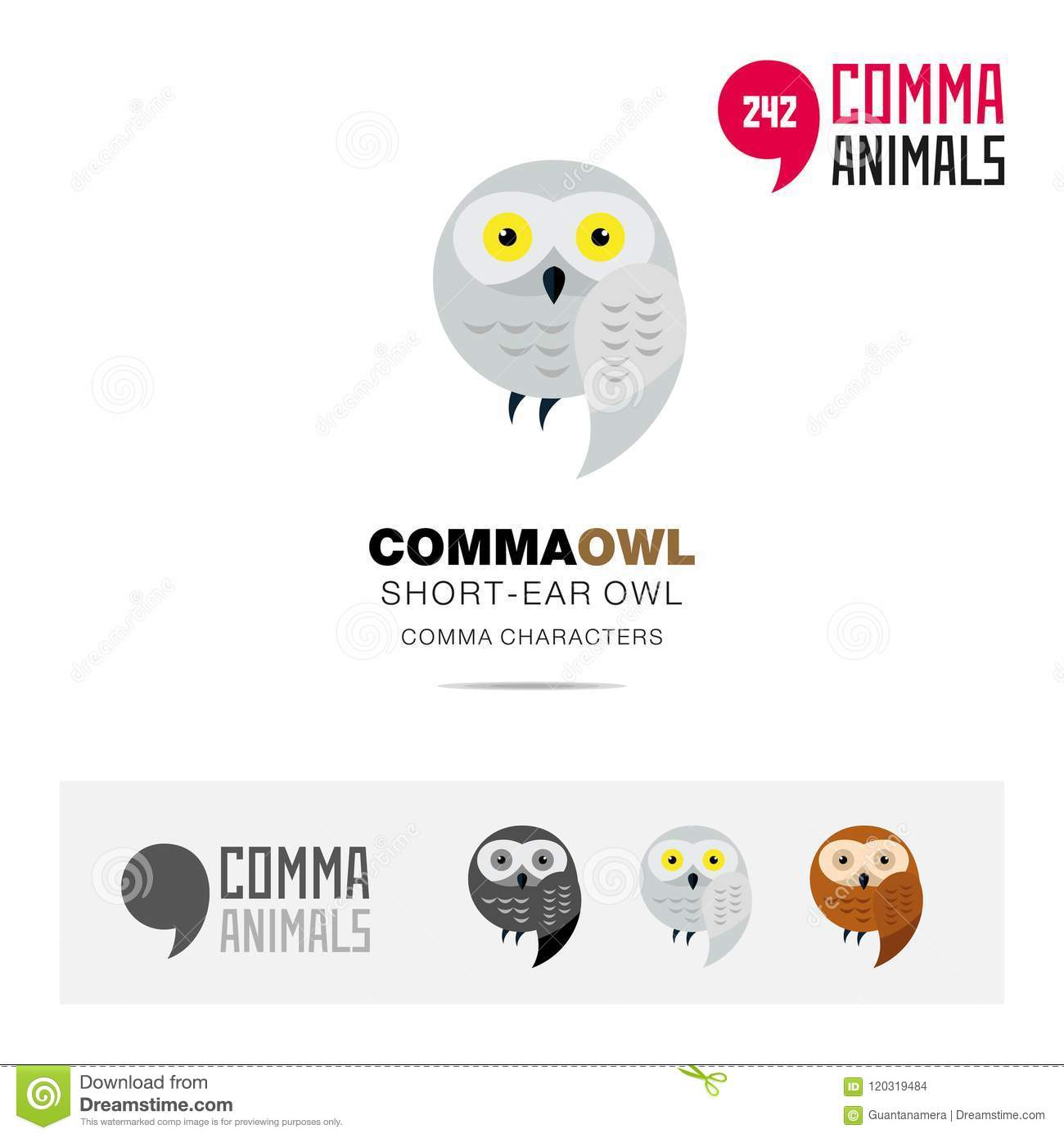 Short Ear Owl Bird Concept Icon Set And Modern Brand Identity Logo