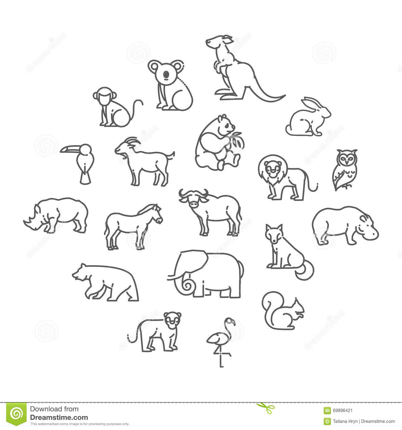 Zoo Line Art : Animal icons zoo stock vector illustration of