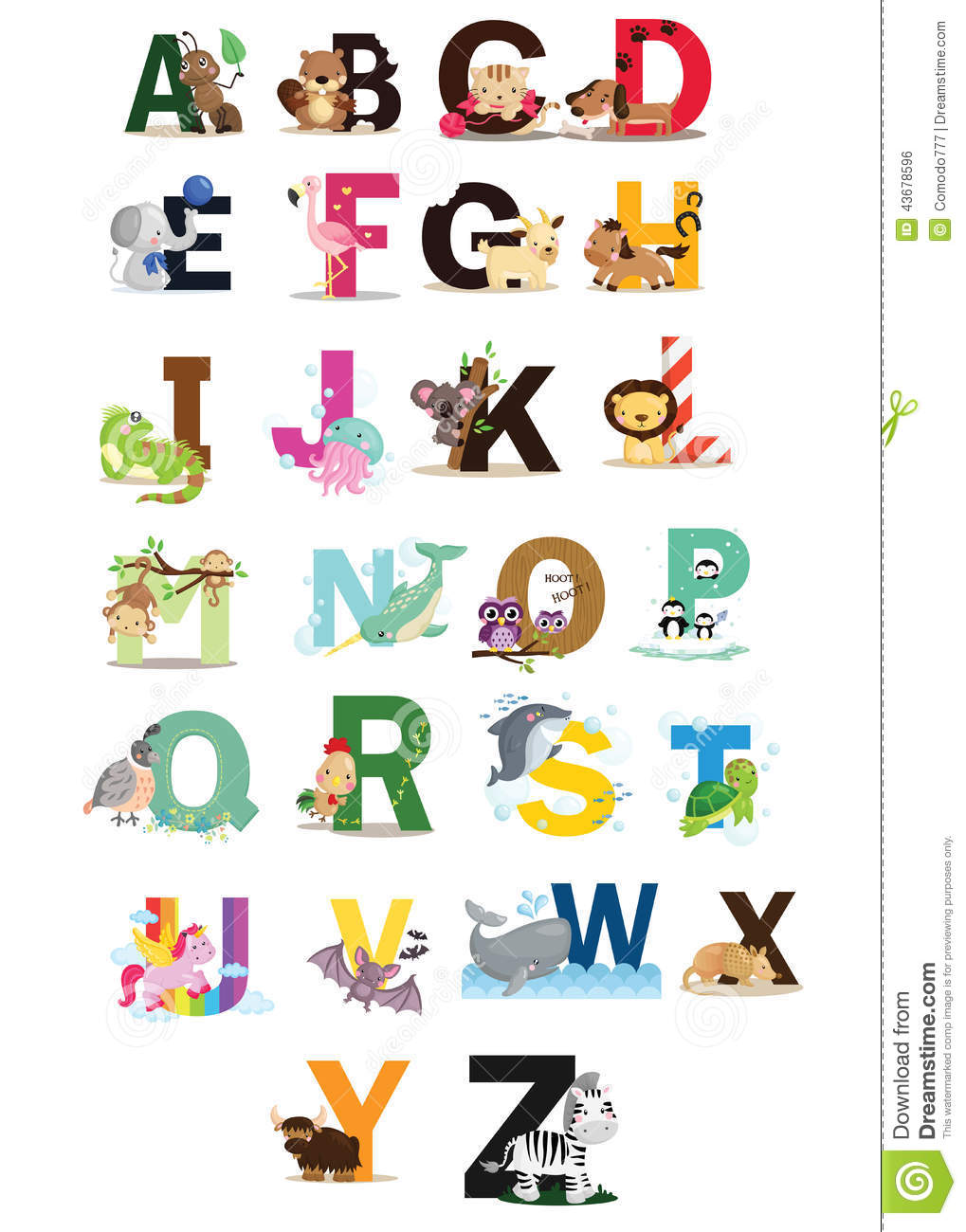 Animal letter vector set