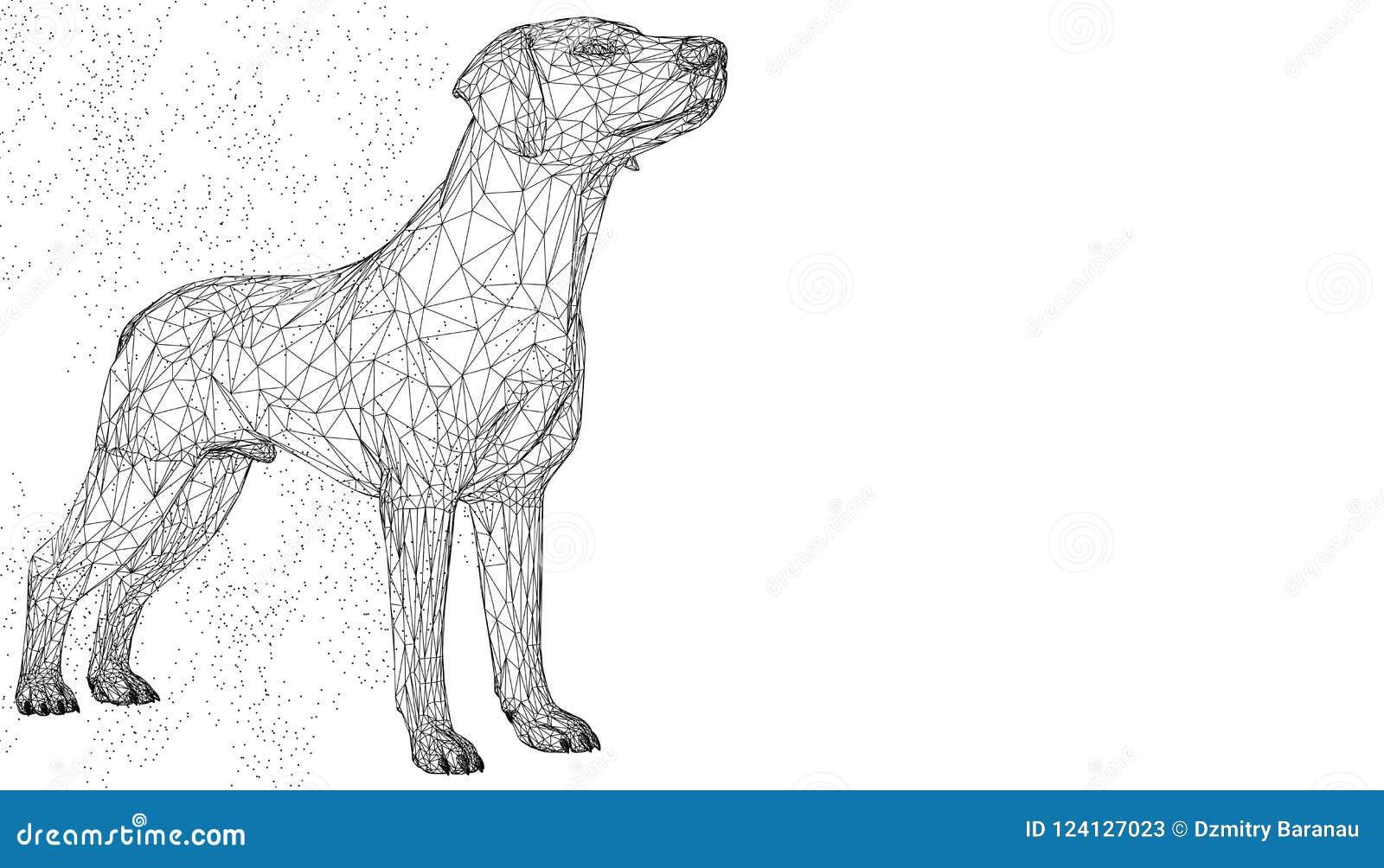 Animal lindo del ejemplo del vector 3d del perro Fondo geométrico del wirframe del triángulo abstracto del polígono Línea azul po