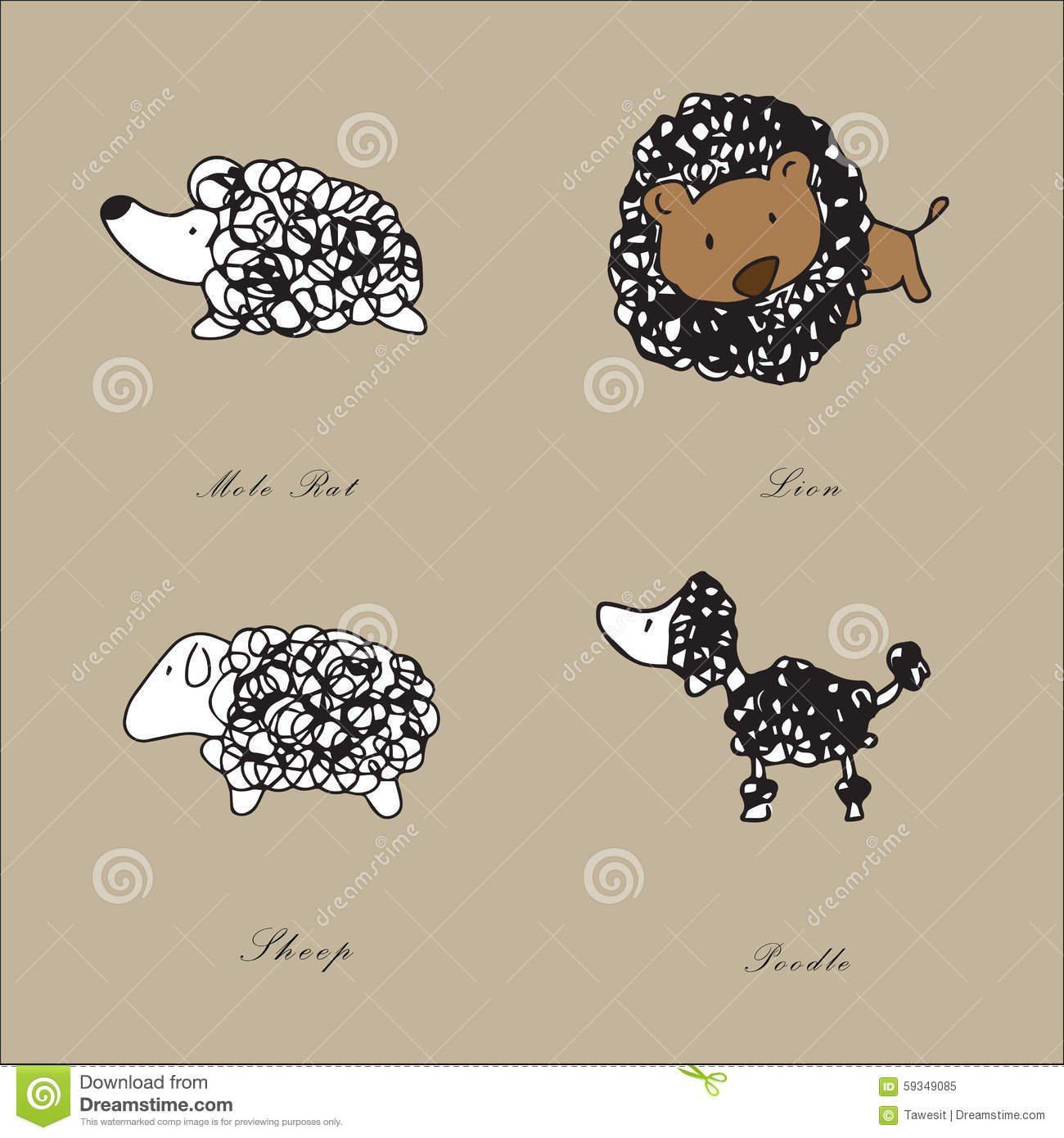 Line Drawings Of Cartoon Animals : Animal line drawing stock illustration image