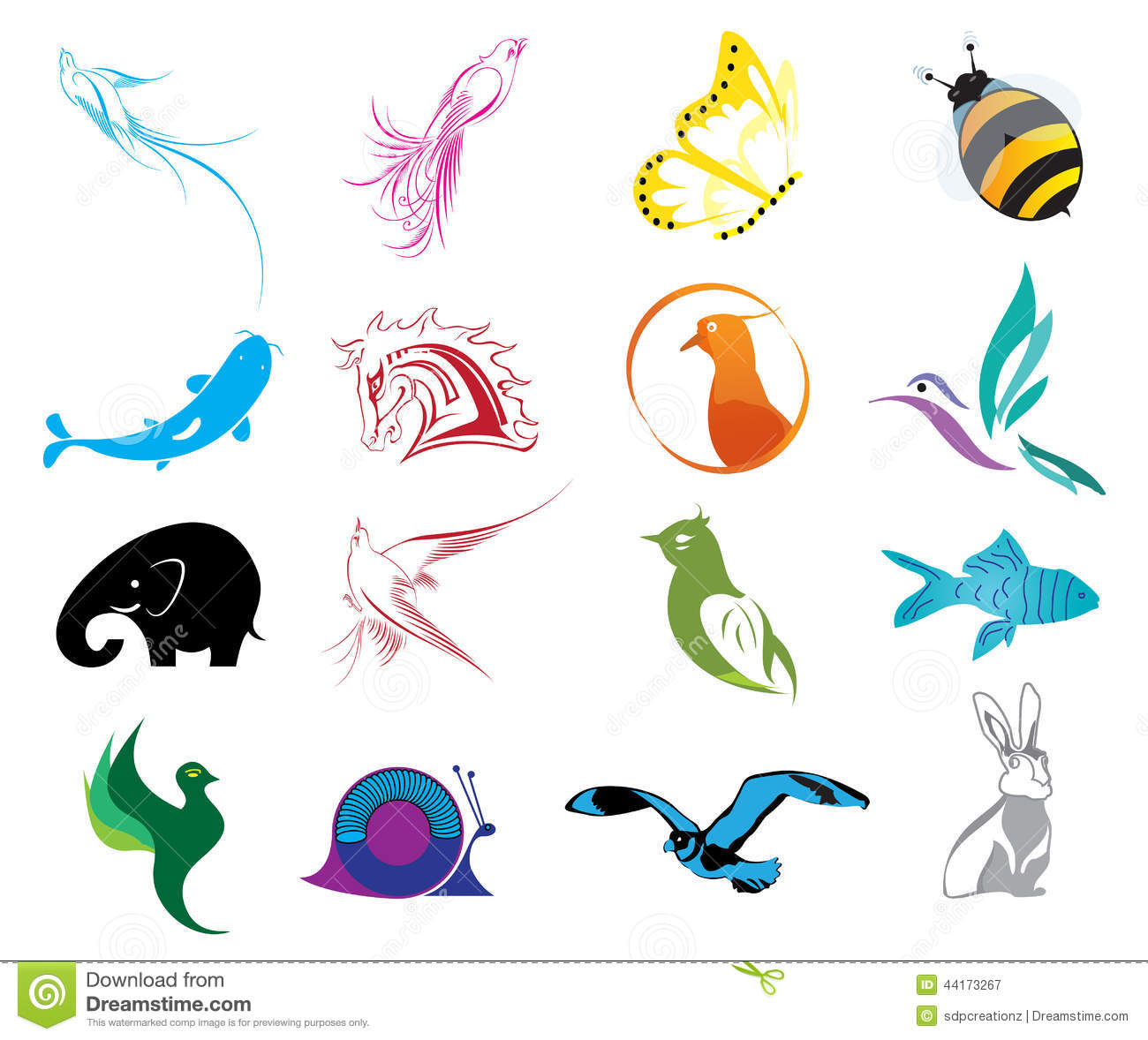 Vector illustration of animal logo colorful icons set on a white ...