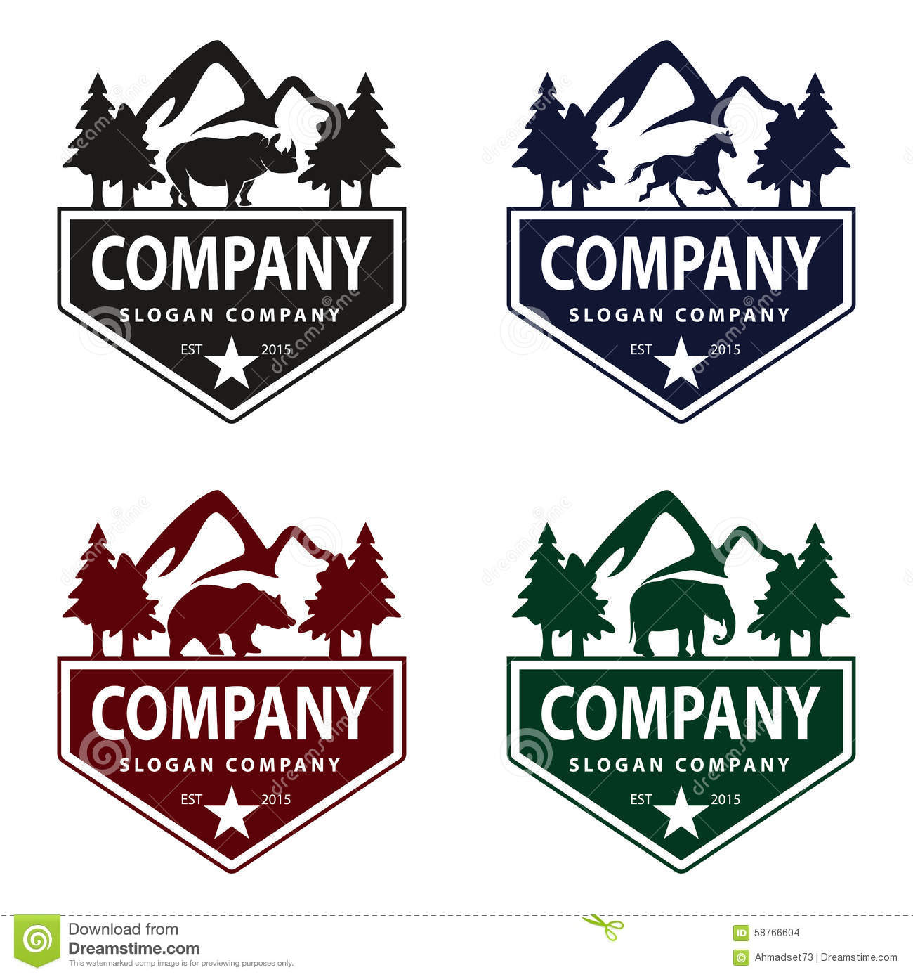 Animal Logo With Mountain And Tree Vintage Concept Stock