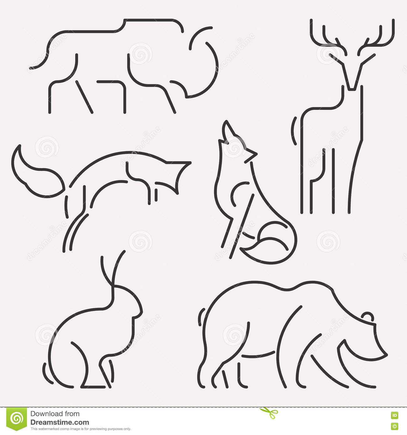 Line Drawings Of Woodland Animals : The figure of reindeer line icon vector illustration