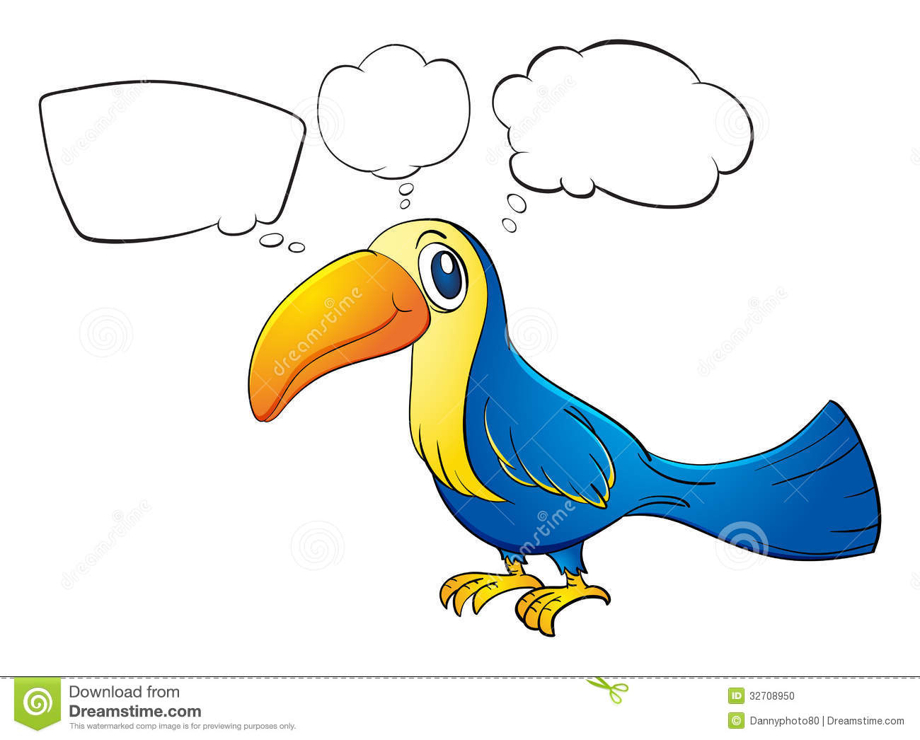 An Animal With A Long Beak Thinking Stock Vector ...