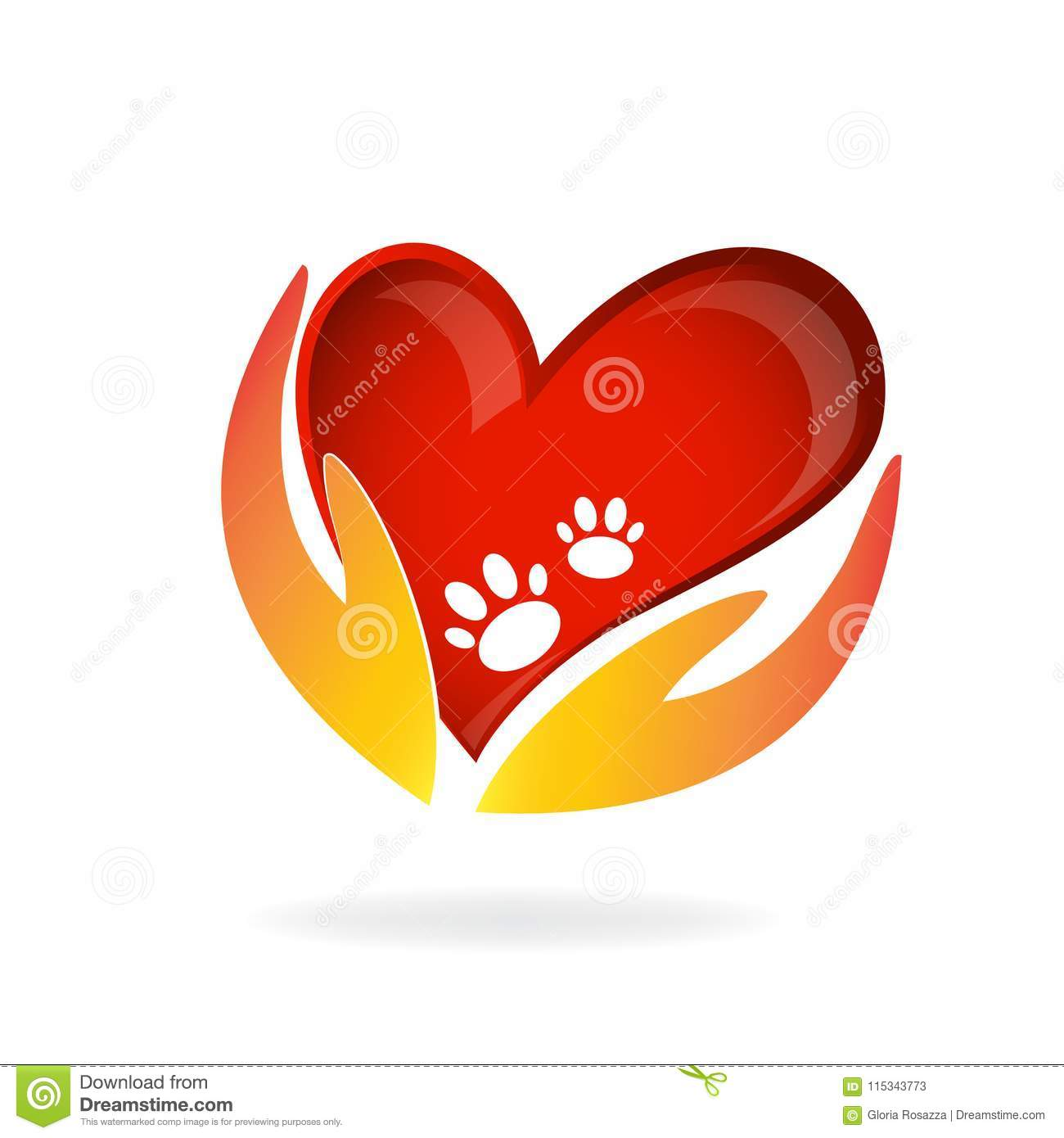 Animal Lovers Hands Love Heart And Paws Design Emblem Logo Image