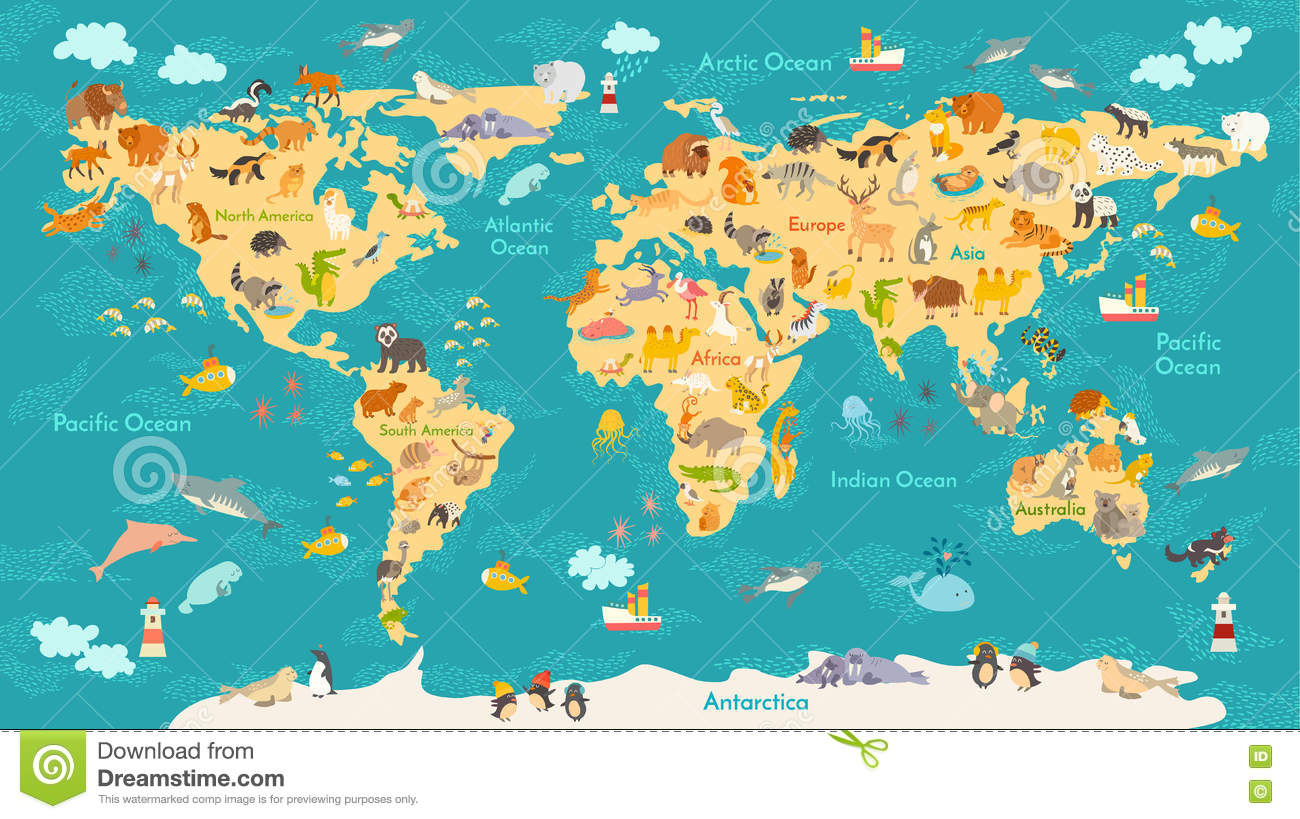 Animal map for kid world vector poster for children cute animal map for kid world vector poster for children cute illustrated gumiabroncs Choice Image