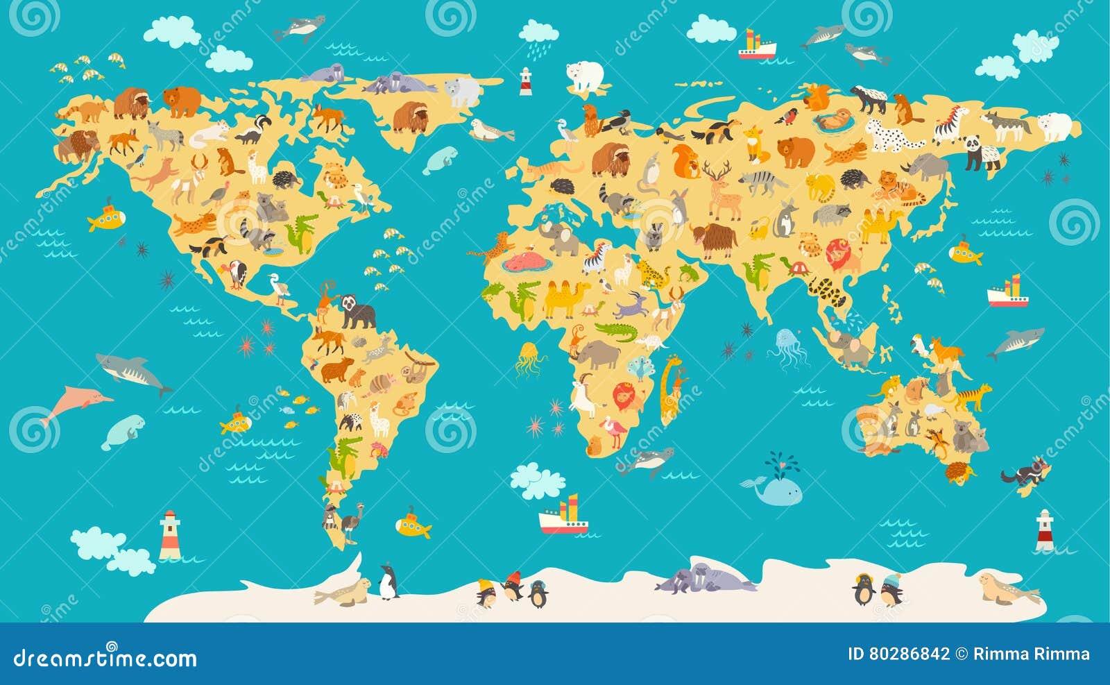 Animal Map For Kid World Vector Poster For Children Cute
