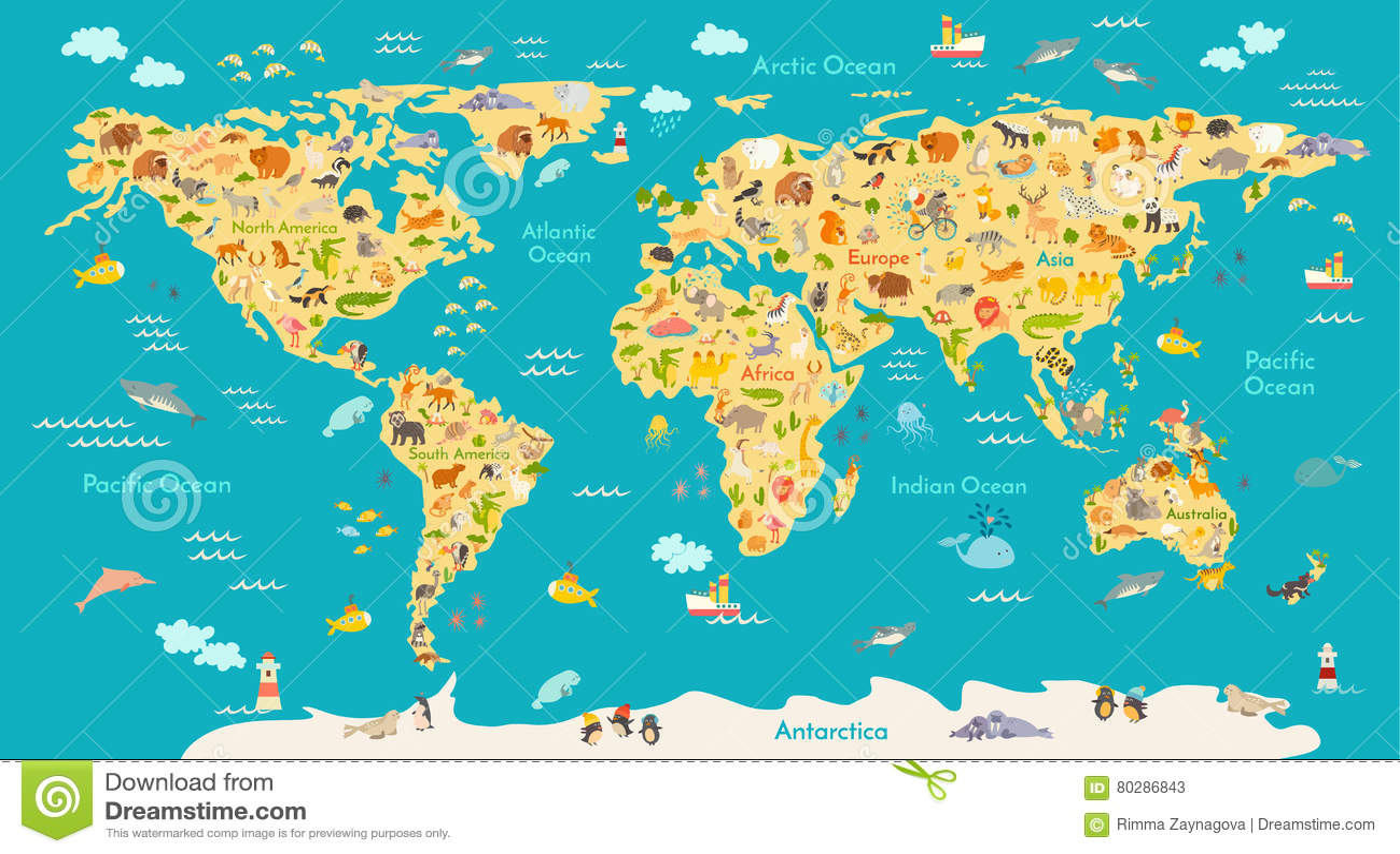 animal map for kid world vector poster for children cute. Black Bedroom Furniture Sets. Home Design Ideas