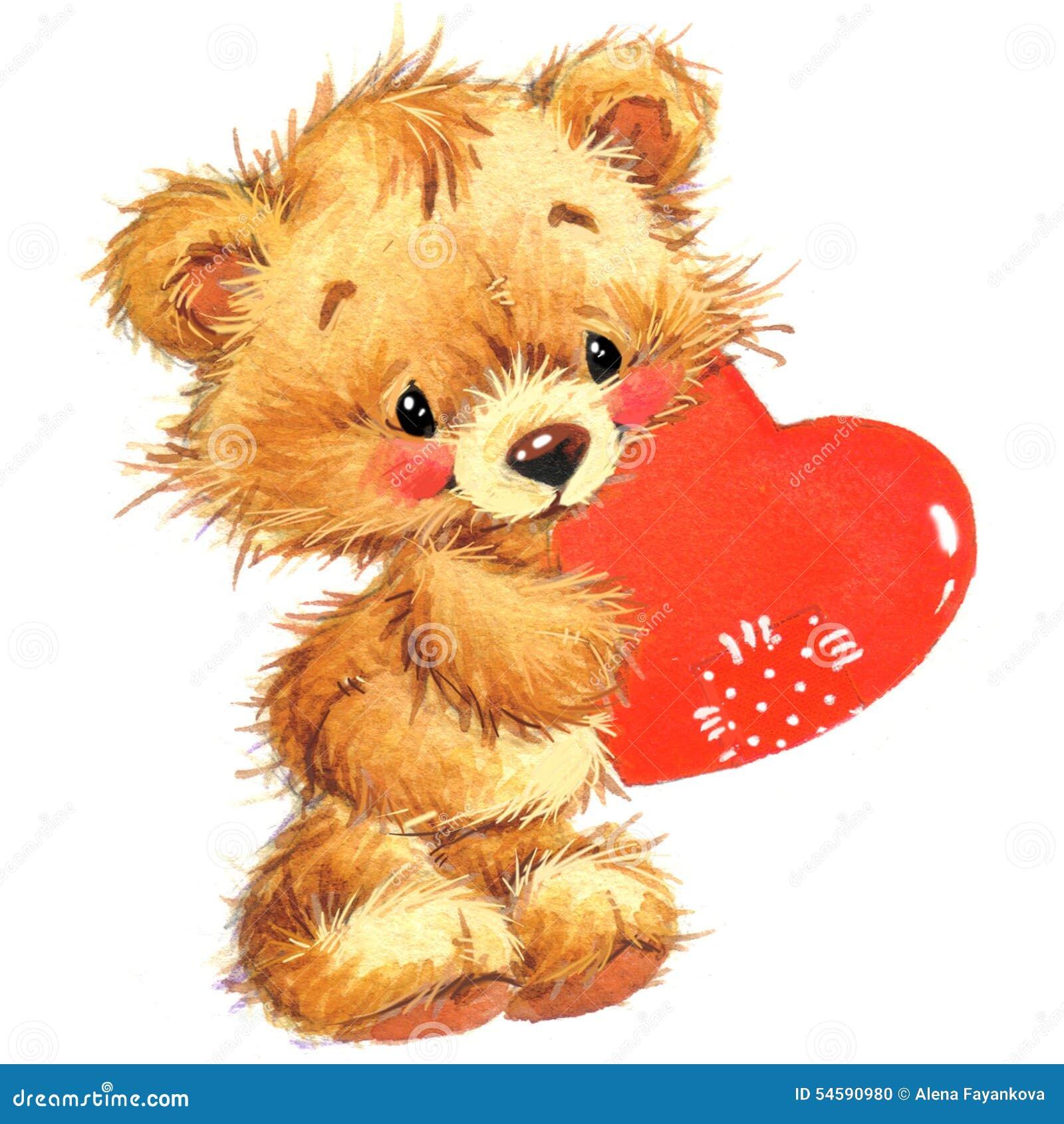 Animal mignon et coeur de rouge de valentine watercolor - Animal mignon ...