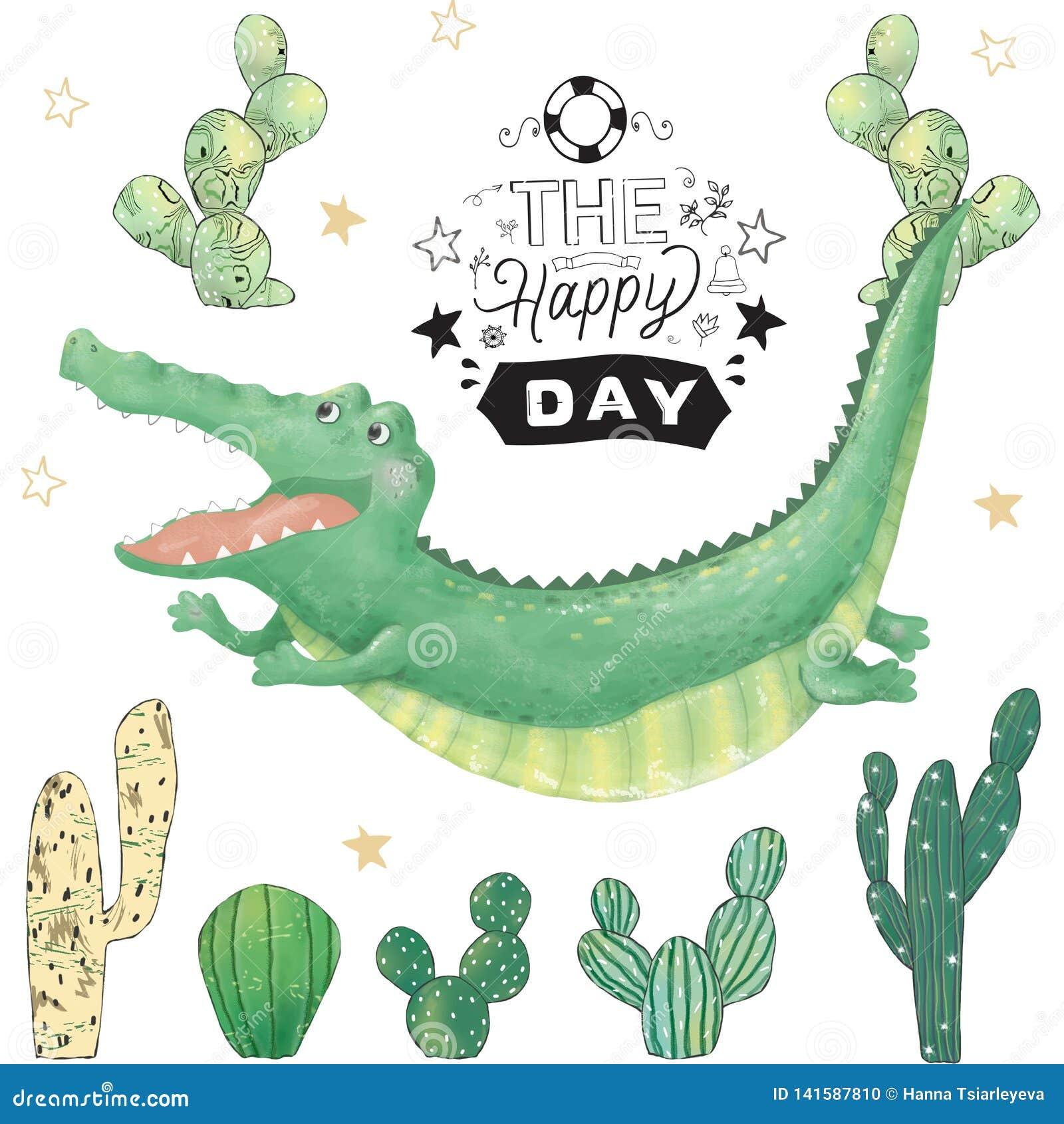 Animal mignon numérique et cactus de clipart (images graphiques) de crocodile Vol Croc Texte de temps de partie Africain drôle de