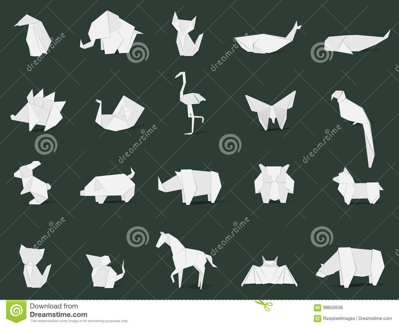 Animal origami vector isolated on background