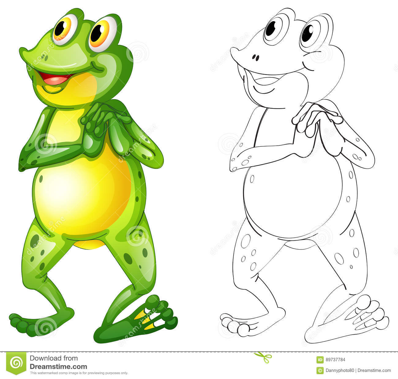 animal outline for frog standing stock vector image 89737784