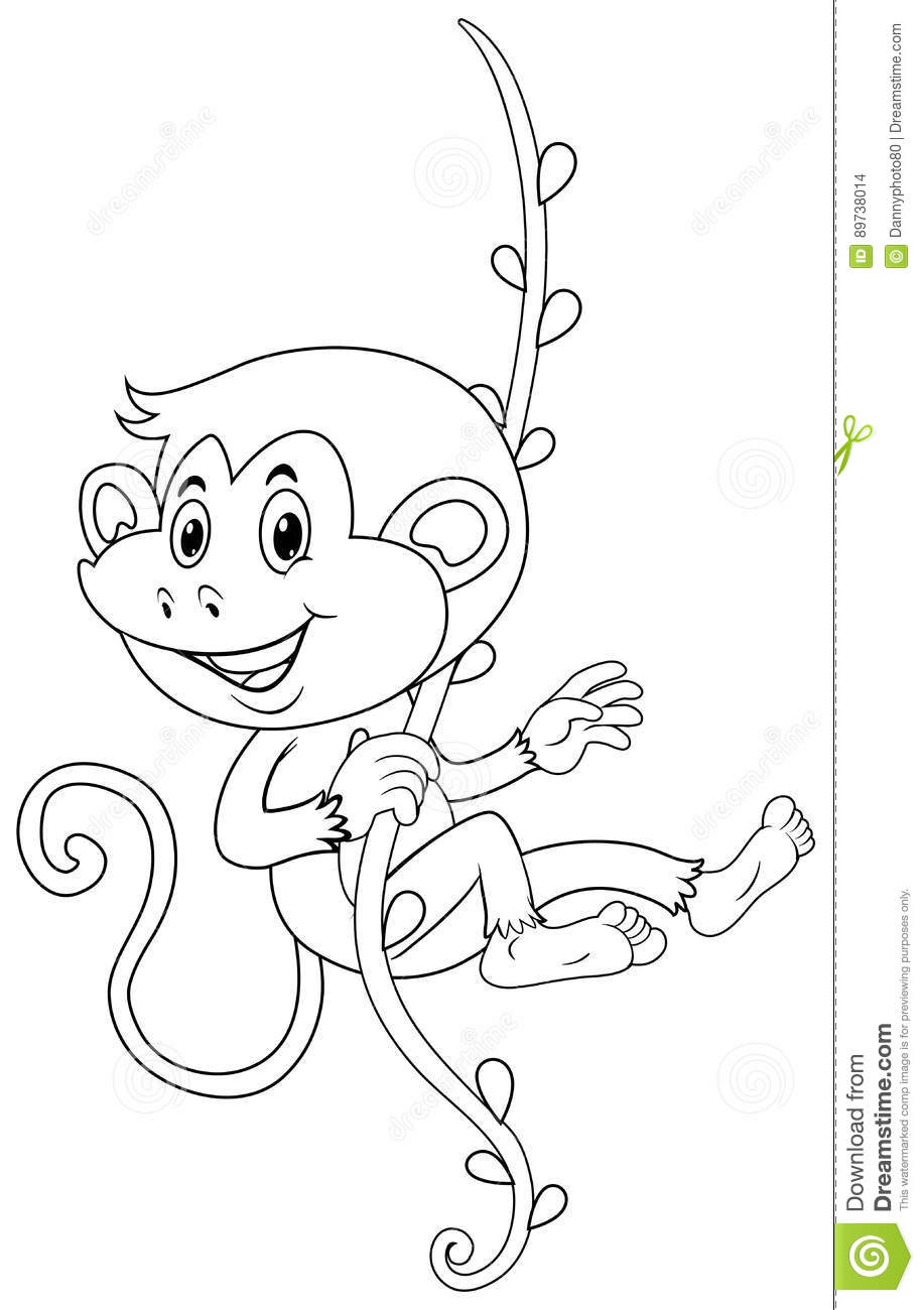 animal outline for monkey on vine stock vector illustration of