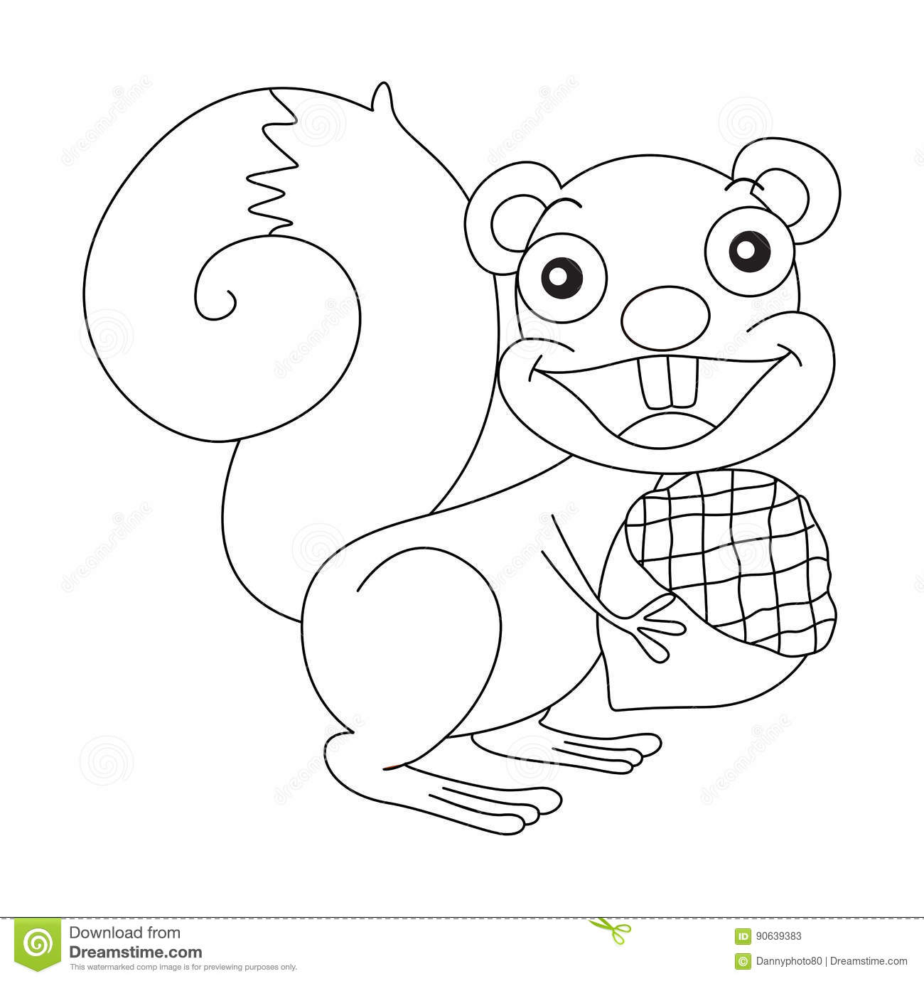 Animal Outline For Squirrel And Nut Stock Vector Image 90639383