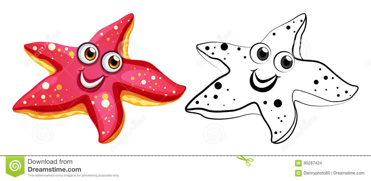 Animal Outline For Starfish With Happy Face Stock Vector ...
