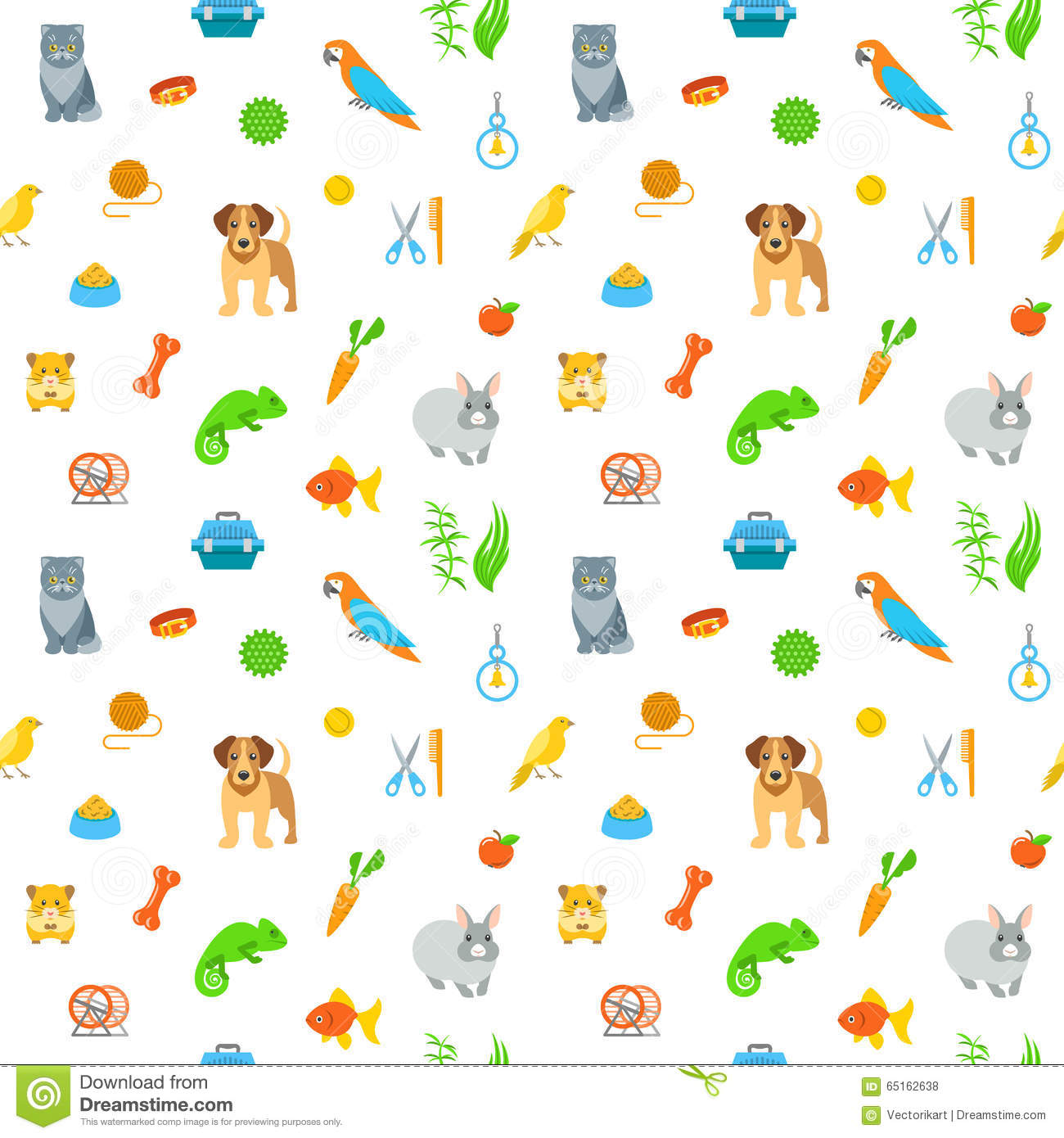 Cats And Dogs Background Pattern Bright