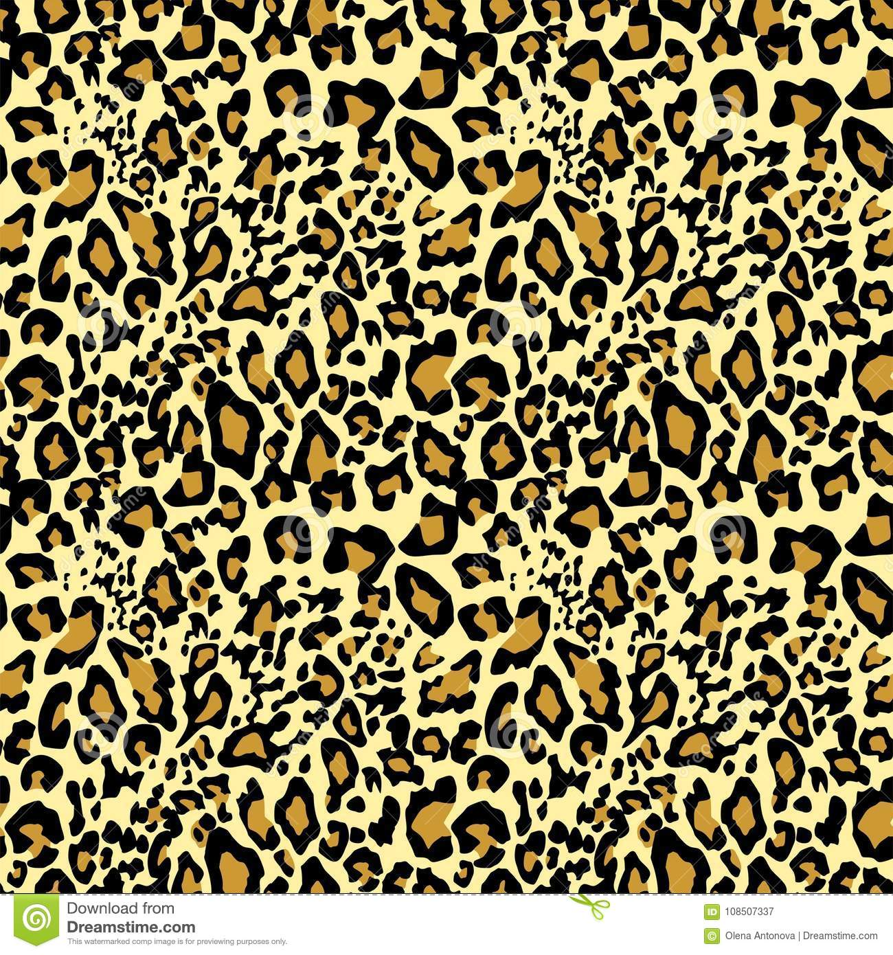 Golden Leopard Wallpaper Animal Print Stock Vector