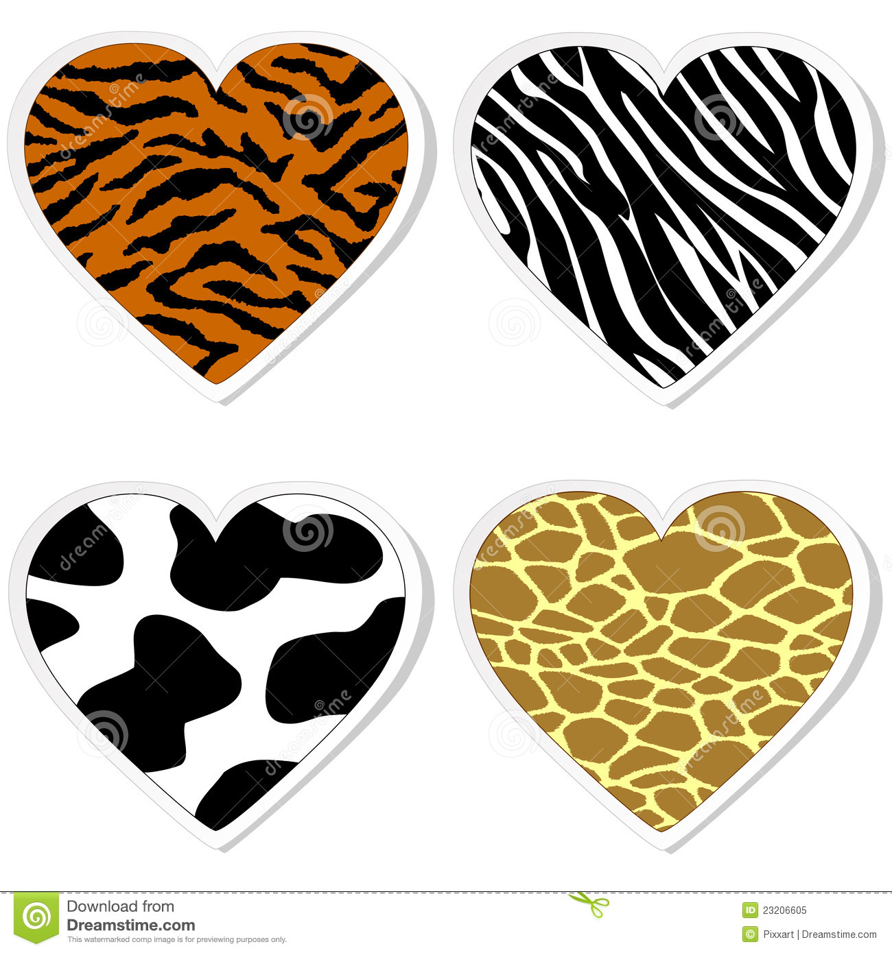 Animal Print Heart Stickers Royalty Free Stock Photo Image - Where to print stickers