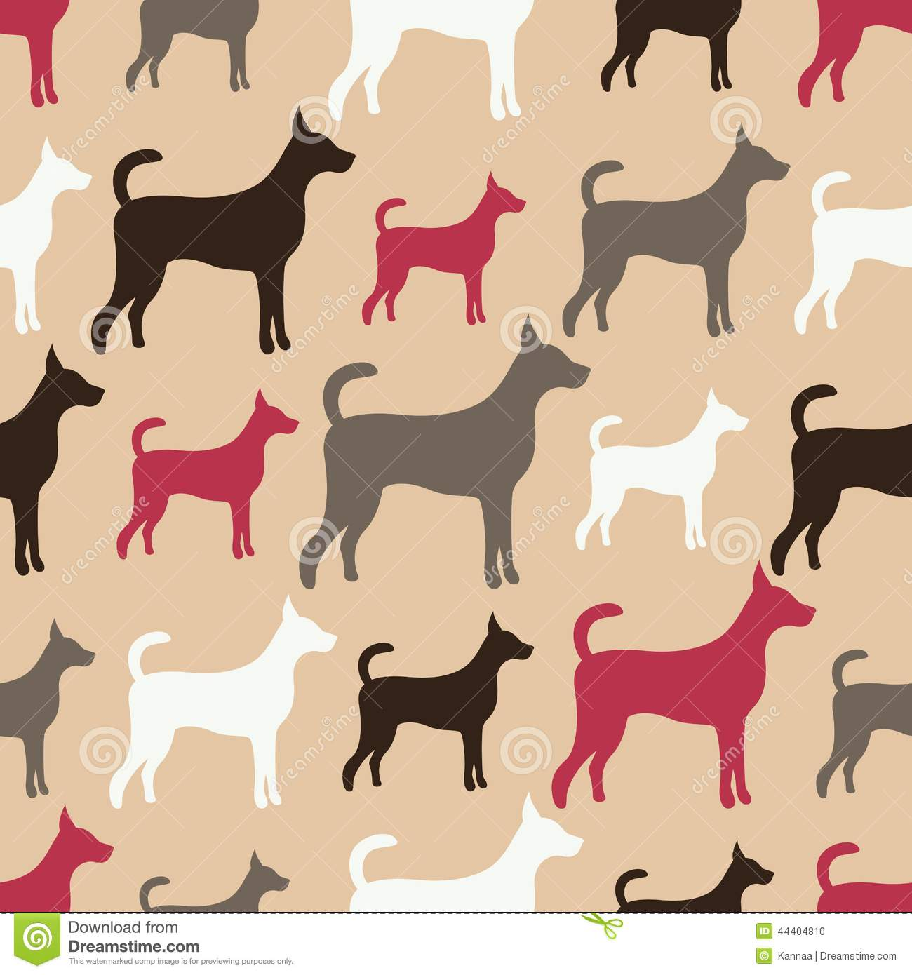 animal seamless vector pattern of dog silhouettes stock vector