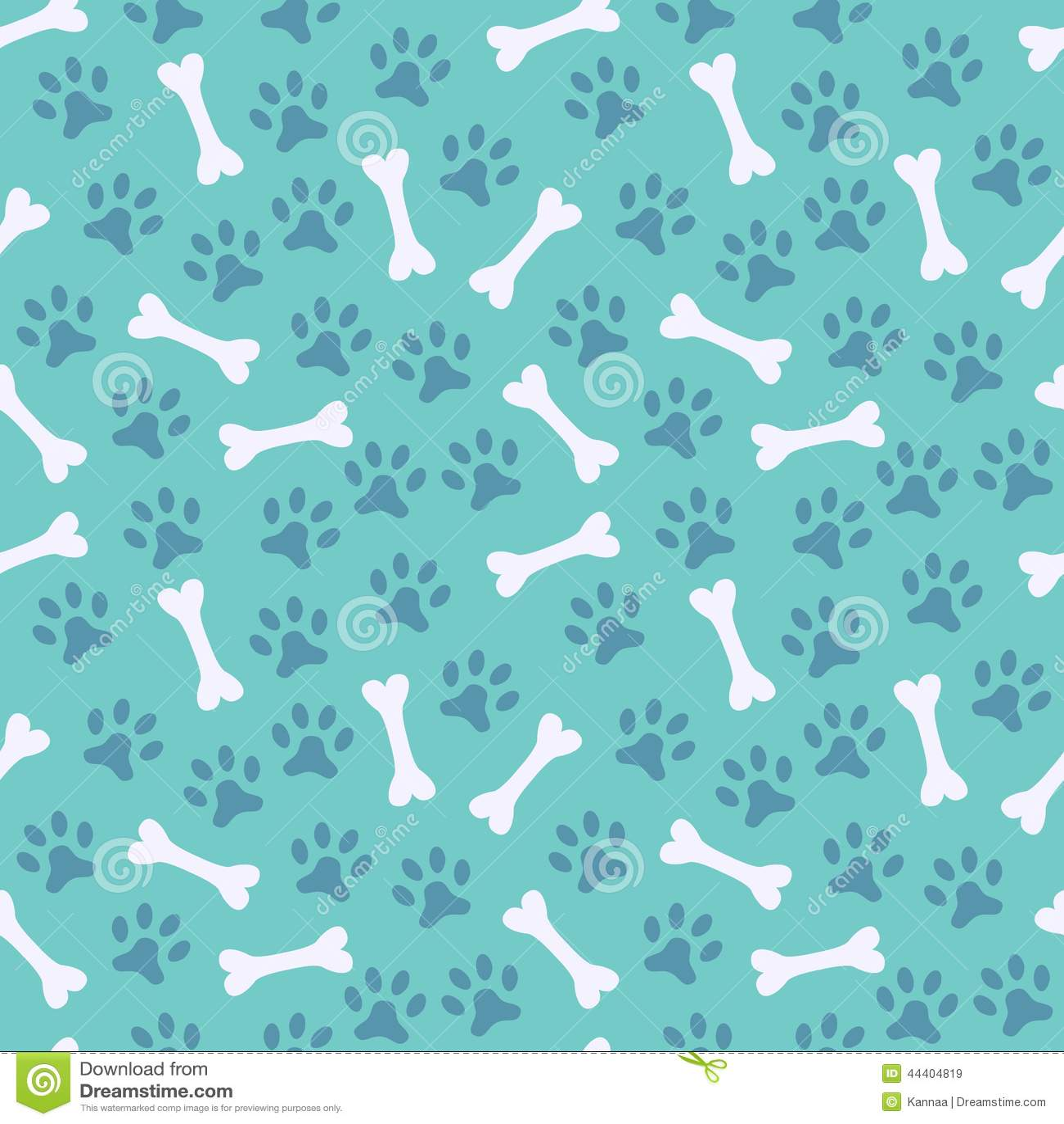 Animal Seamless Vector Pattern Of Paw Footprint Stock