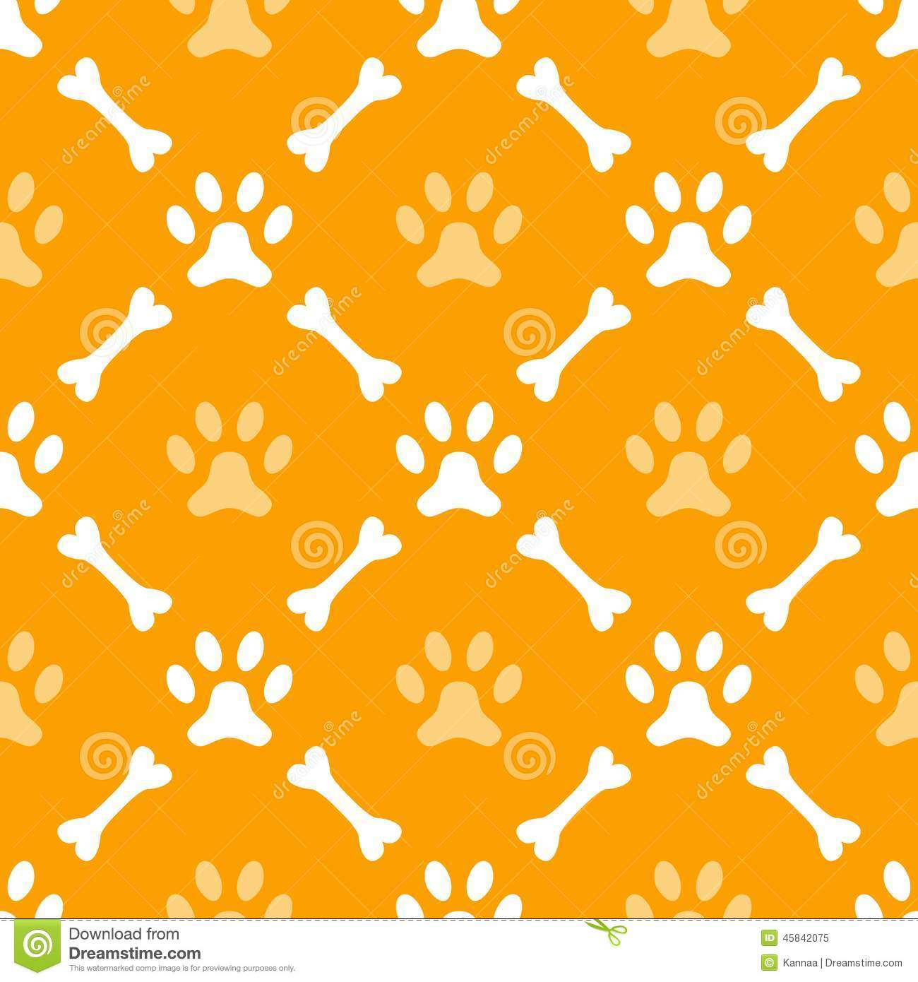 Animal Seamless Vector Pattern Of Paw Footprint Stock