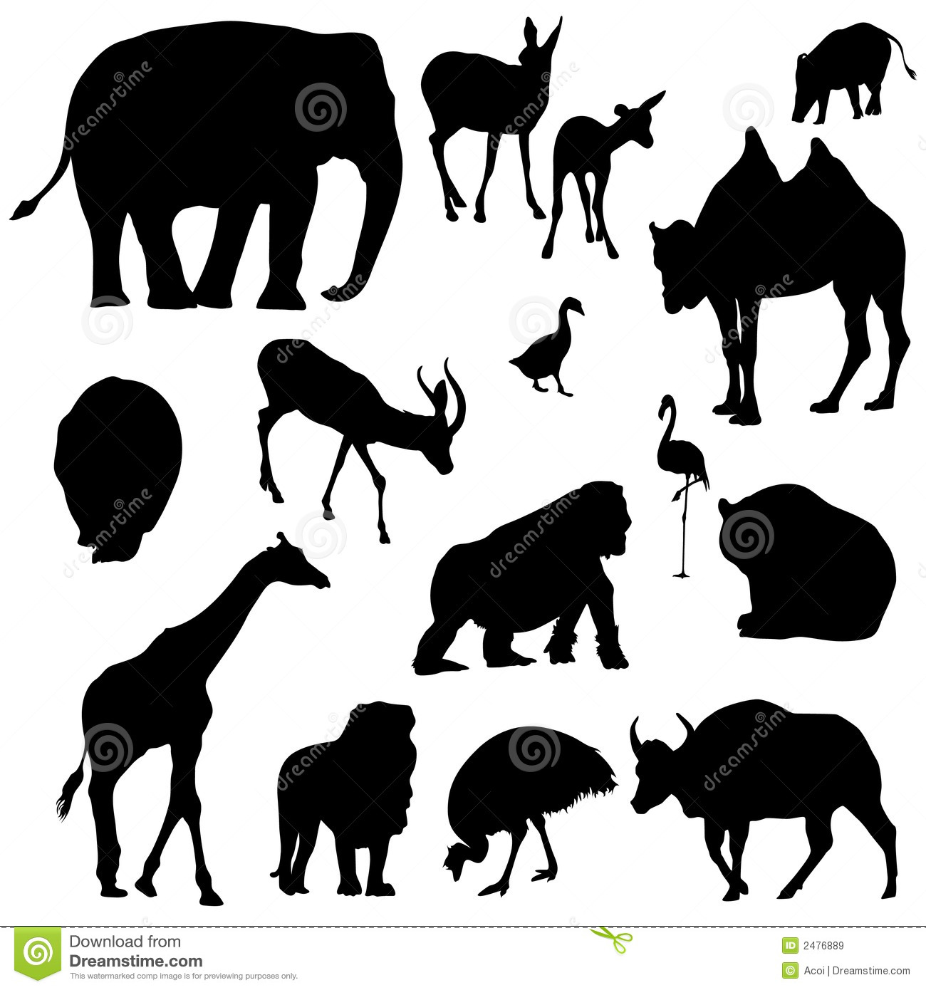 Animal Silhouettes Royalty Free Stock Images - Image: 2476889