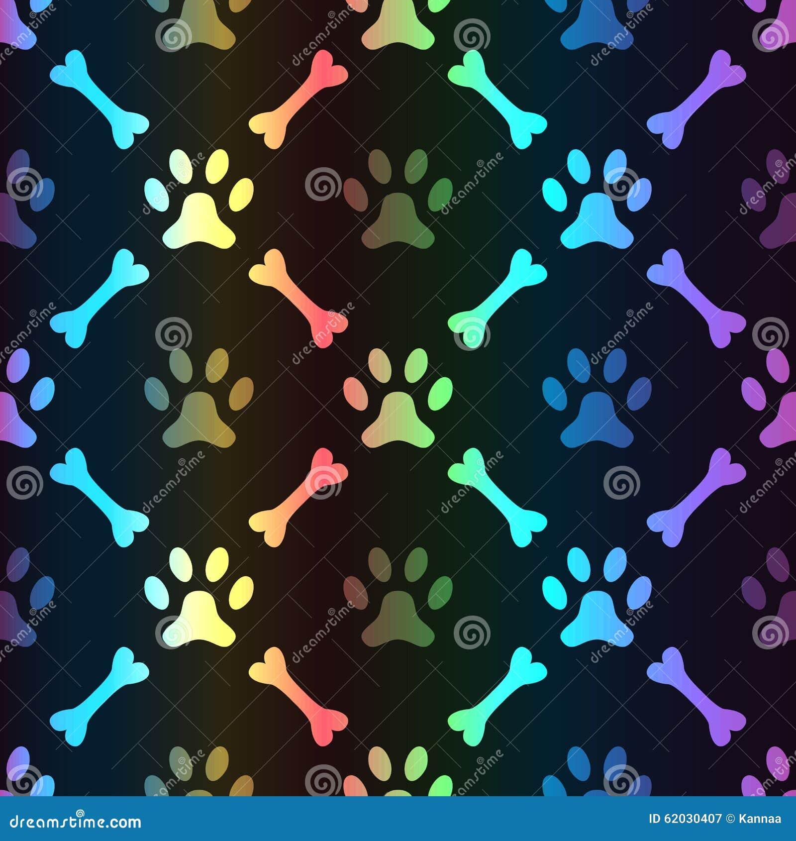 Animal Spectrum Seamless Pattern Of Paw Footprint Stock