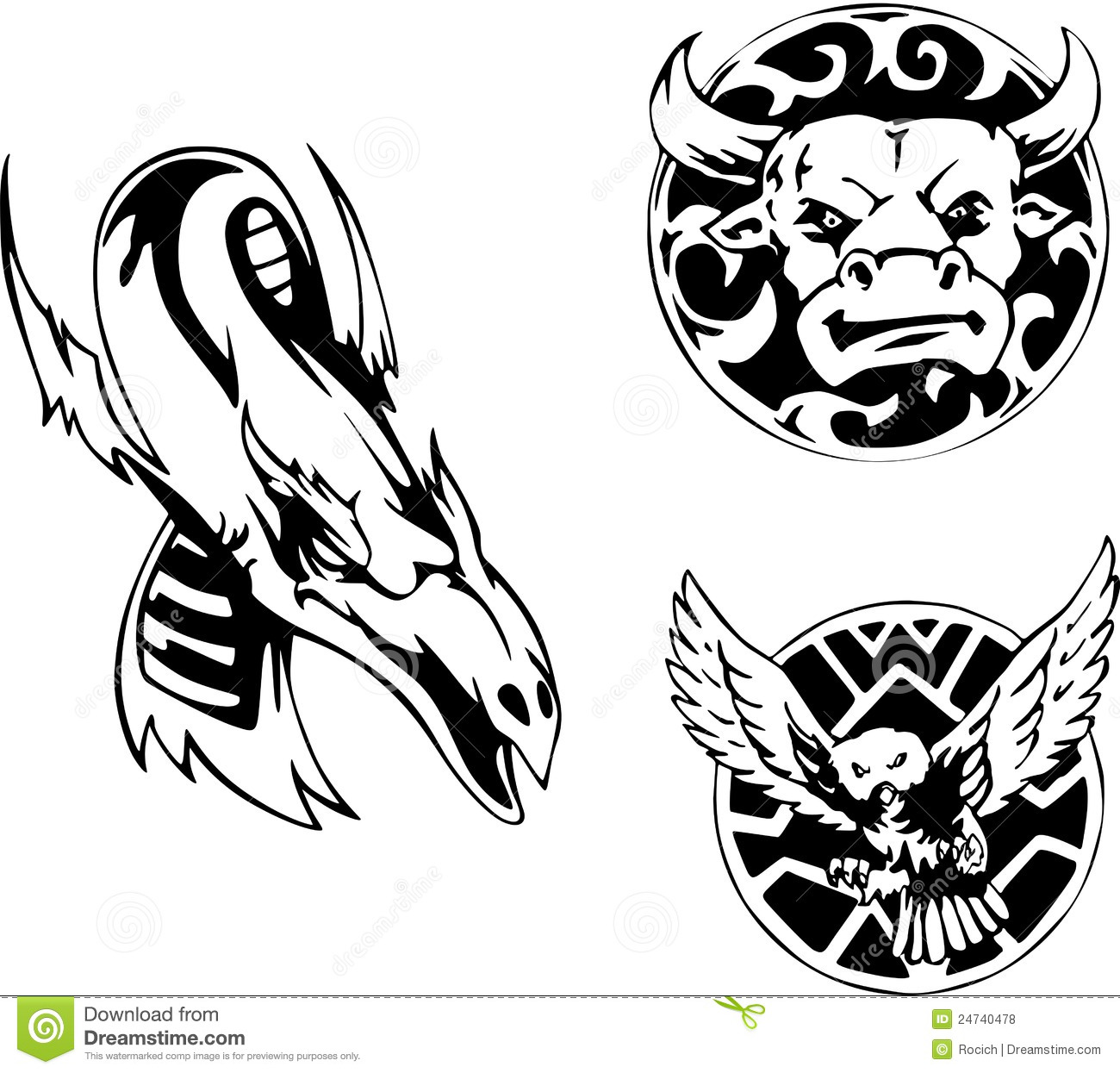 Three animal tattoo designs with bull, dragon and owl. Set of black ...