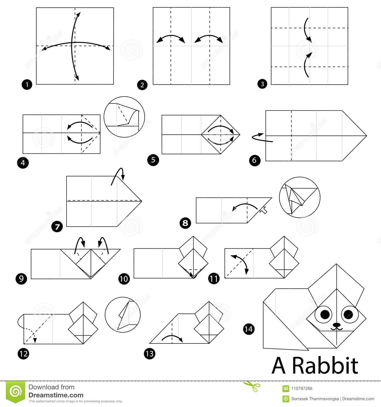 Origami Bunny Tutorial With Printable Template - Easy Peasy and Fun | 1390x1300