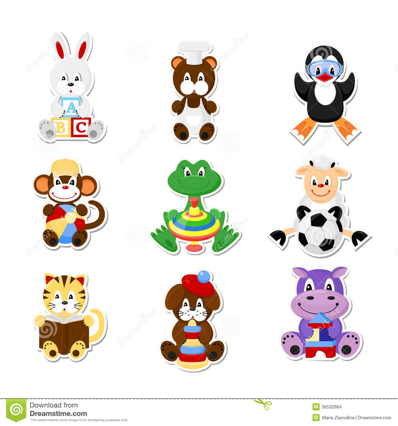 Set Of Vector Icons Cute Animals In Kids Style