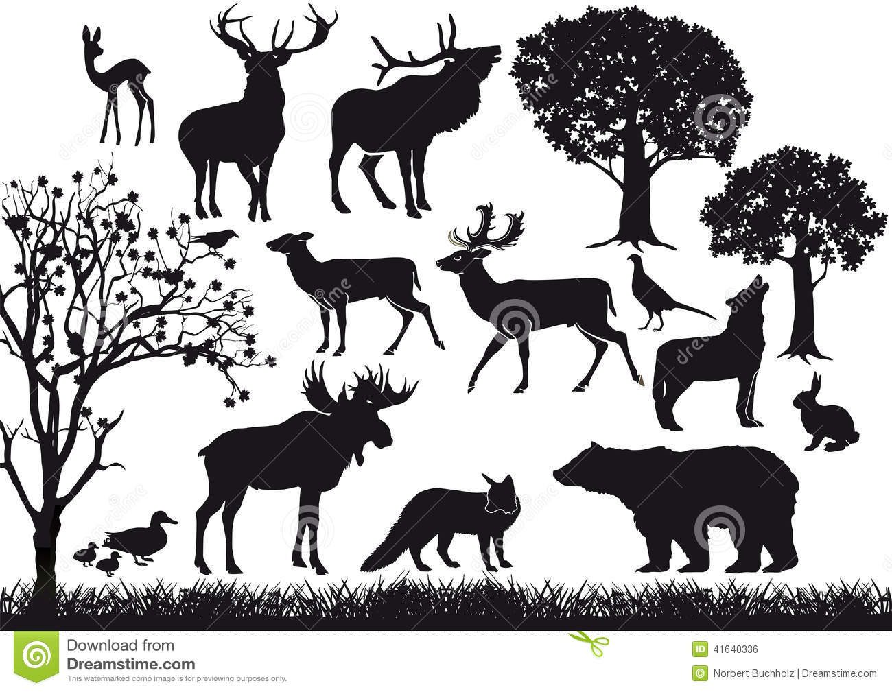Animal And Tree Silhouettes Stock Vector Image 41640336
