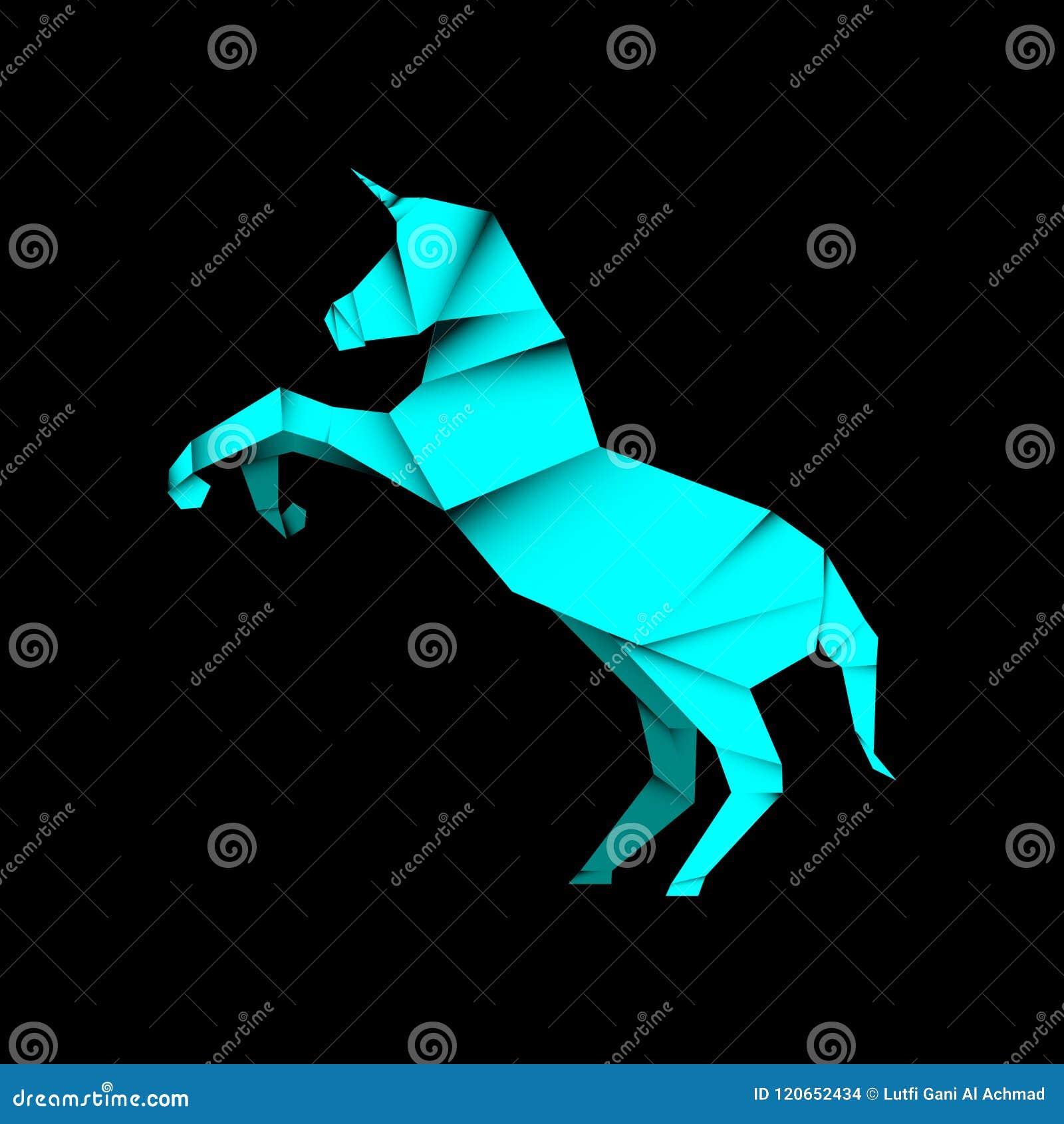 Animal unicorn origami style