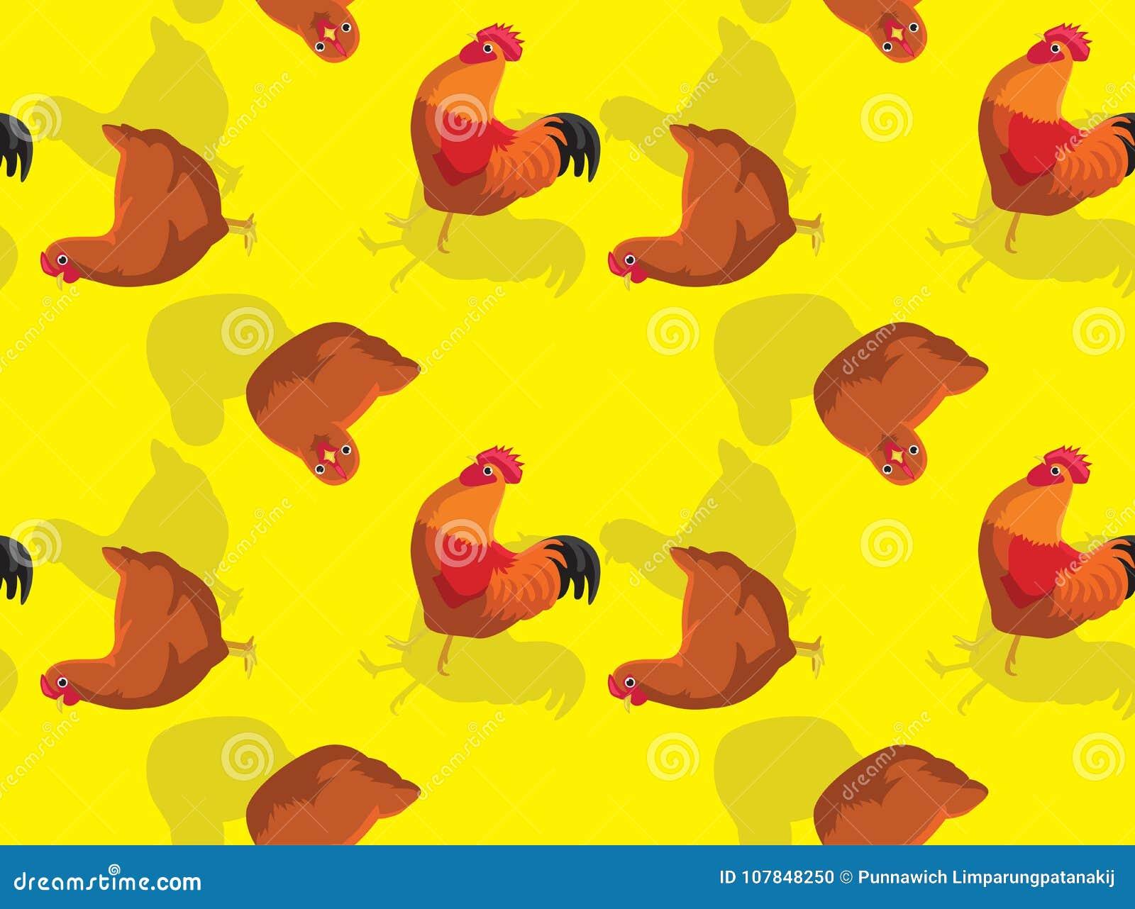 Chicken New Hampshire Red Cartoon Seamless Wallpaper Stock
