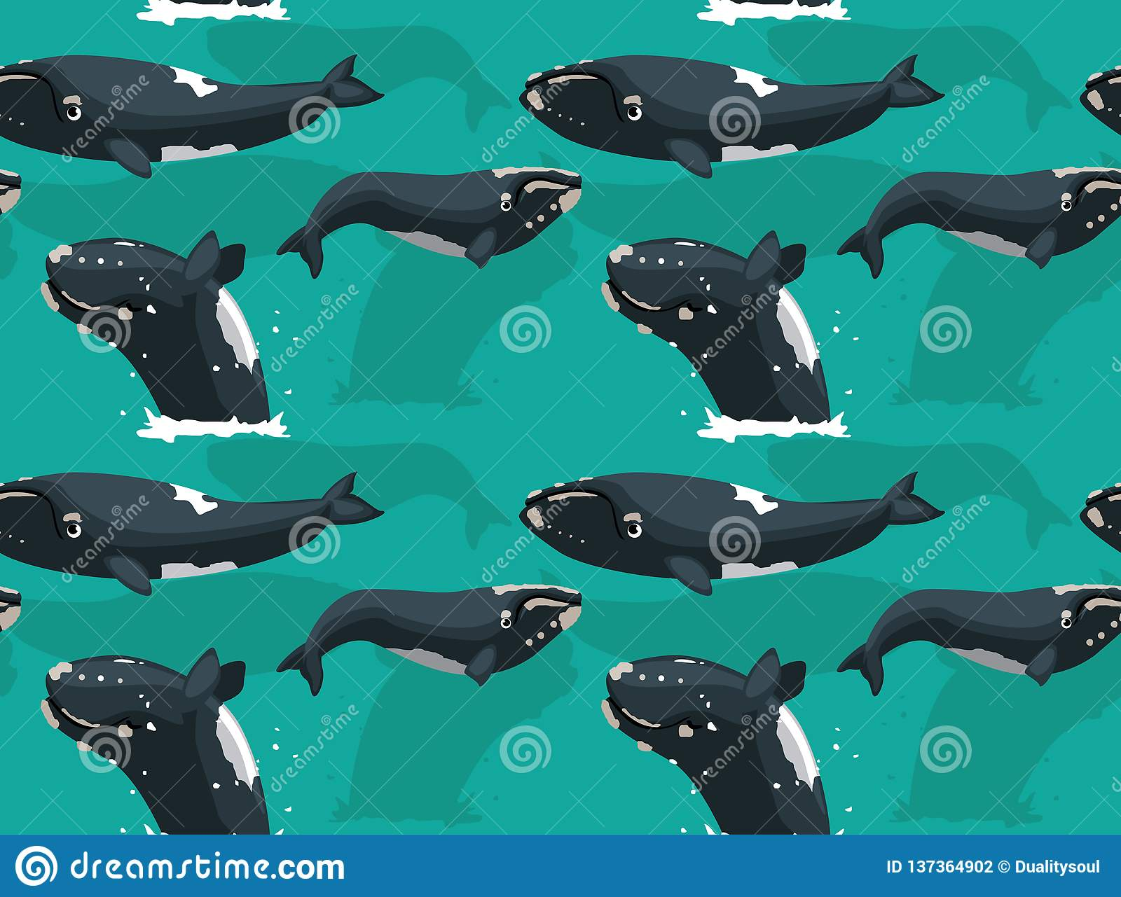 Southern Right Whale Cartoon Background Seamless Wallpaper ...