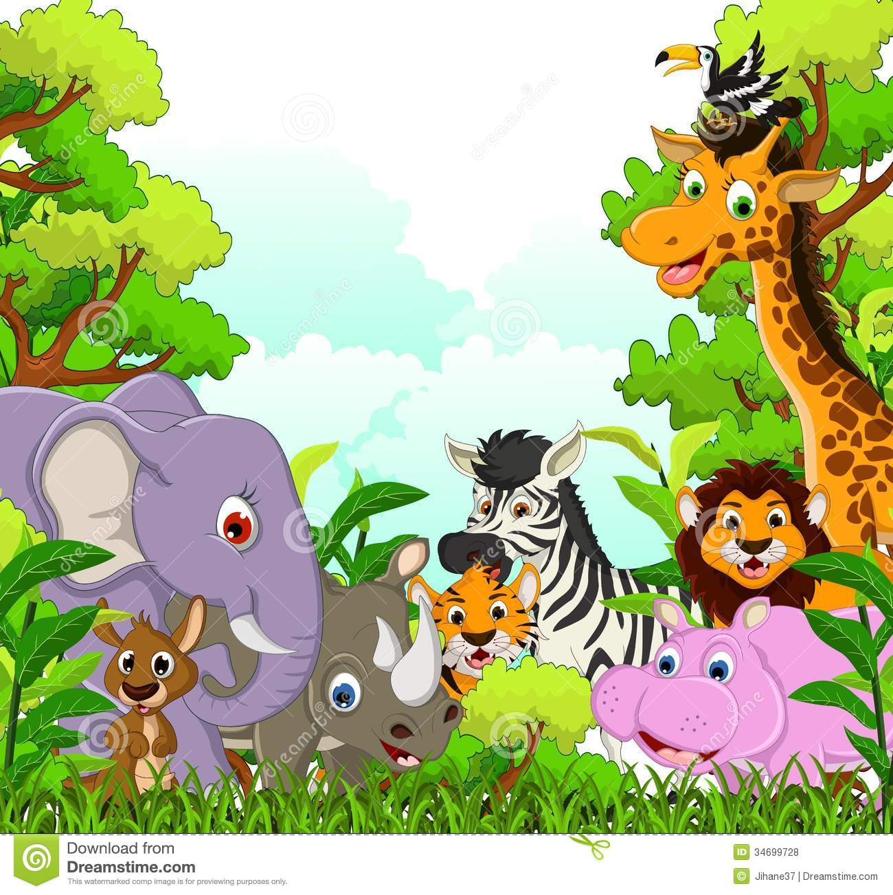 Animal Wildlife Cartoon With Forest Background Stock ...