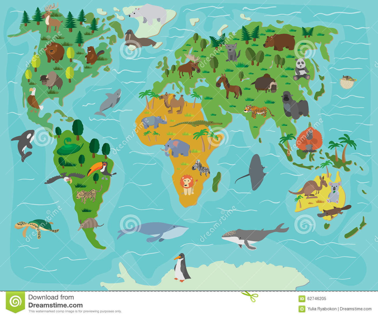 Animal world funny cartoon map stock vector illustration of animal world funny cartoon map gumiabroncs Gallery