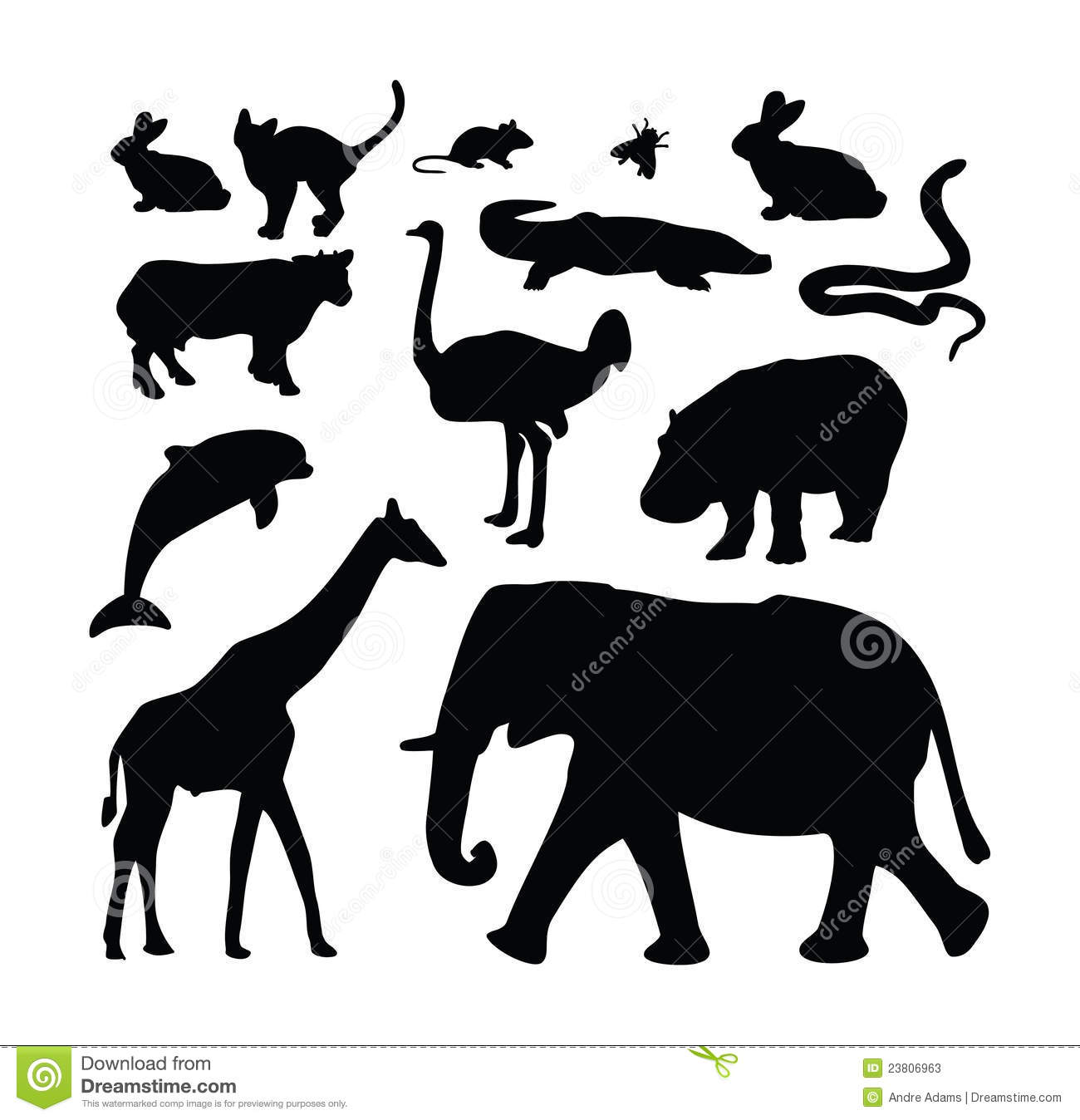 Animal Zoo Silhouette Collection Stock Photos - Image: 23806963