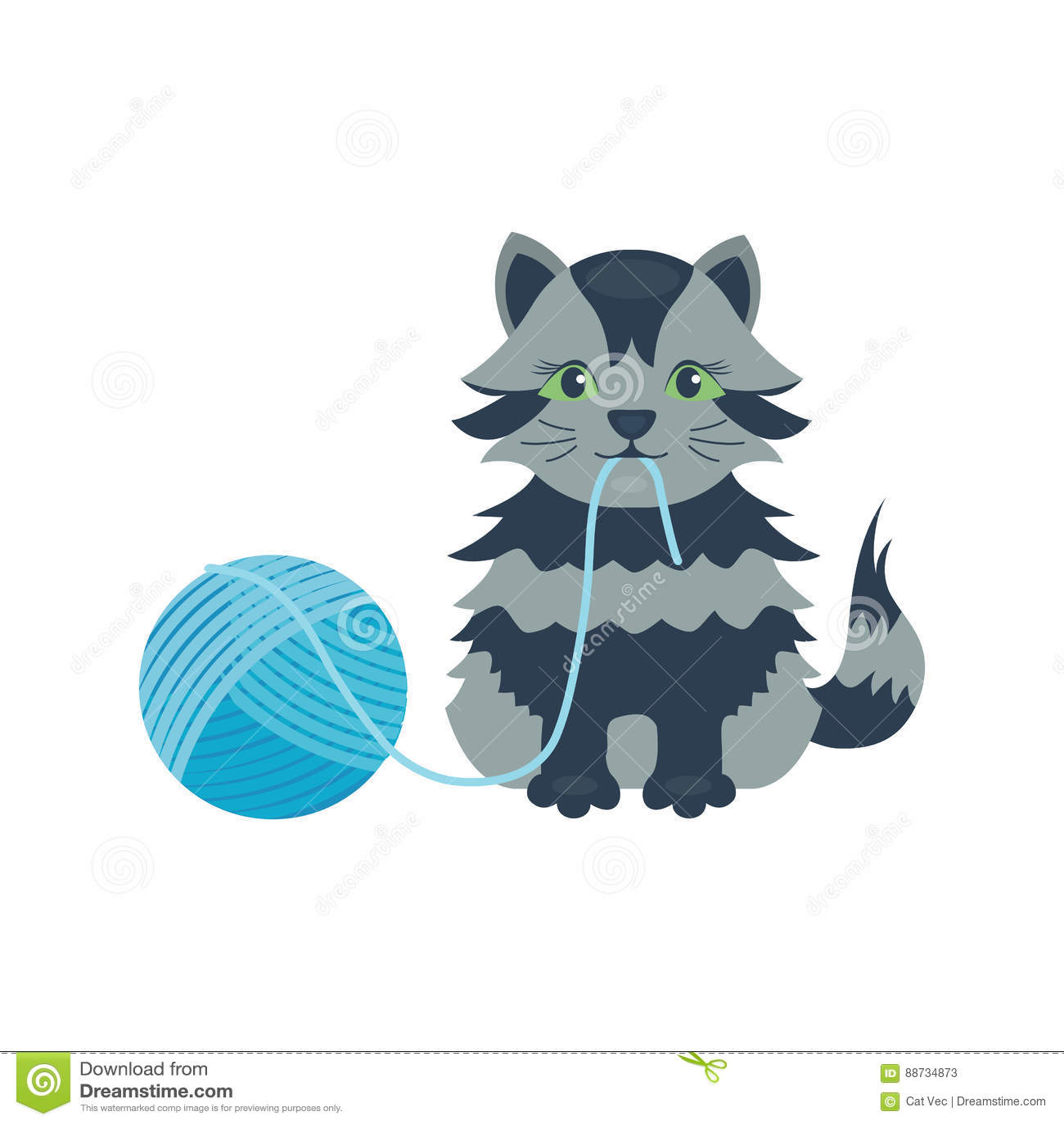 Animale adorabile lanuginoso del fumetto del gattino della razza del gatto del ritratto grigio sveglio dell animale domestico il