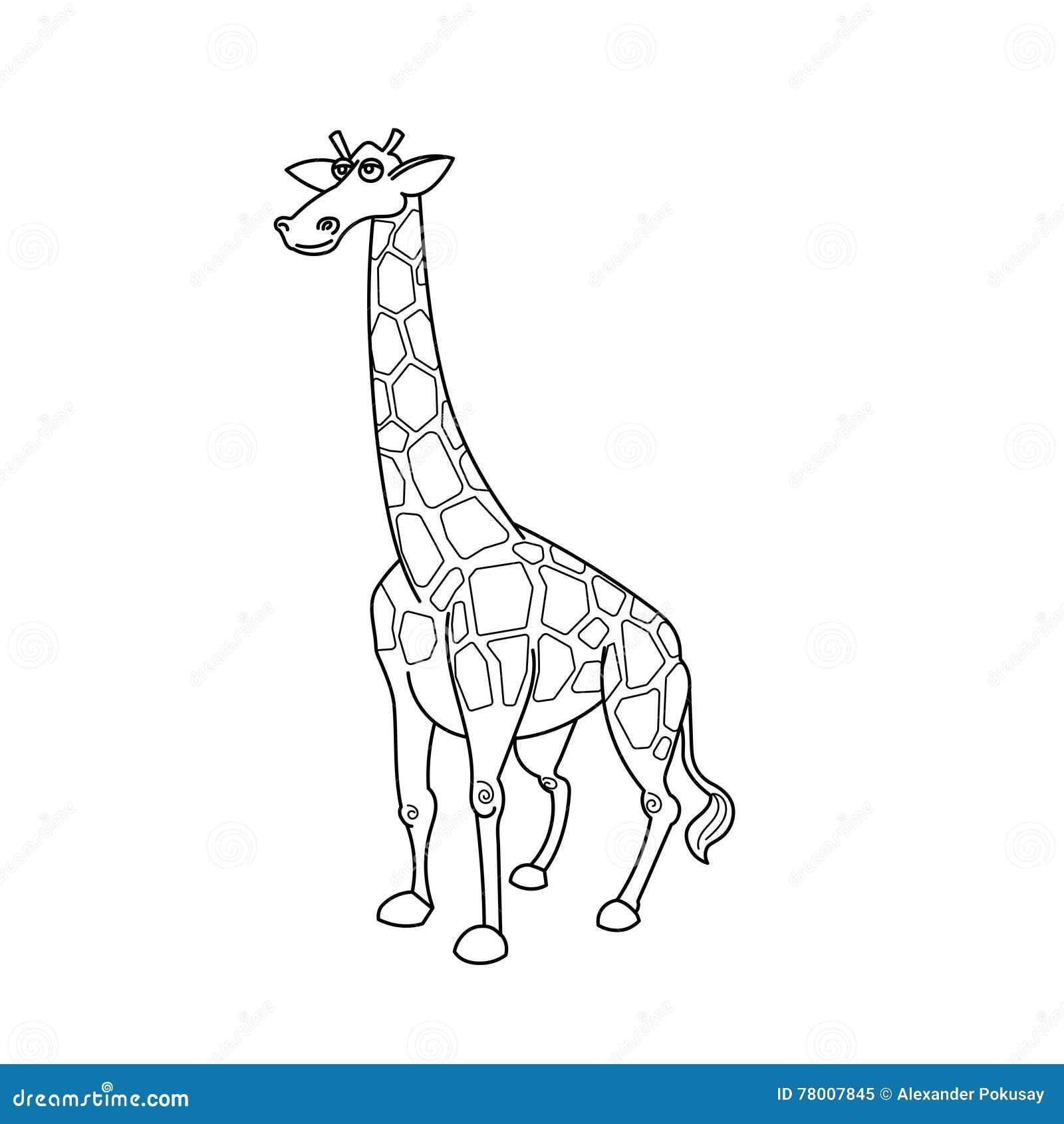 Animale Africano Della Savana Della Giraffa Del Libro Da Colorare