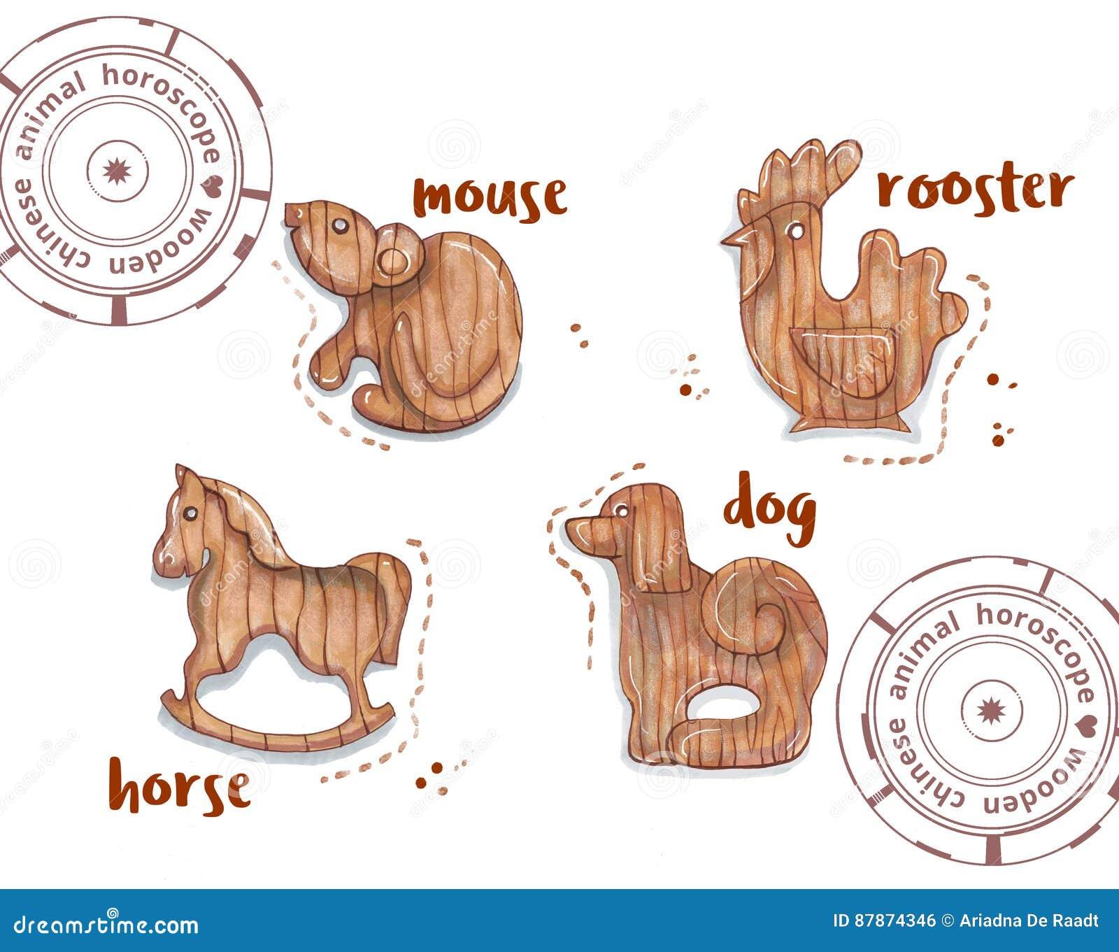 Animale dell oroscopo come giocattoli di legno